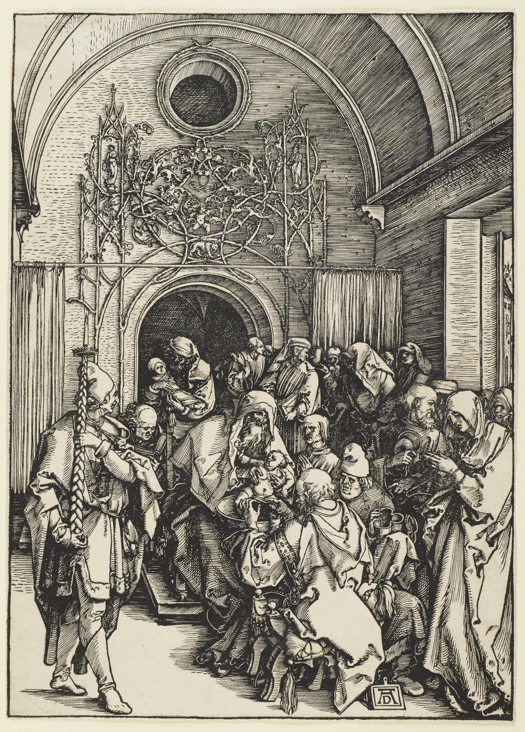 The circumcision takes place amidst a crowd of people inside a church. A candlebearer on left carries a tall, braided candlestick.