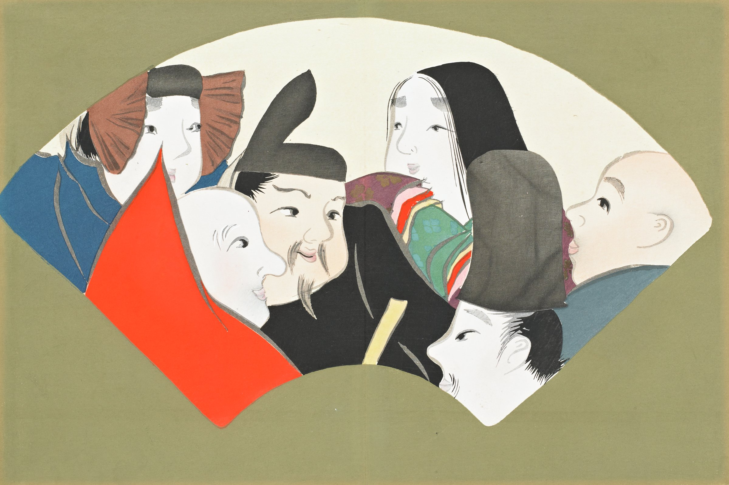 Rokkasen (Six Classical Poets), from Momoyogusa (A World of Things), Volume 3, Kamisaka Sekka, ink and color on paper