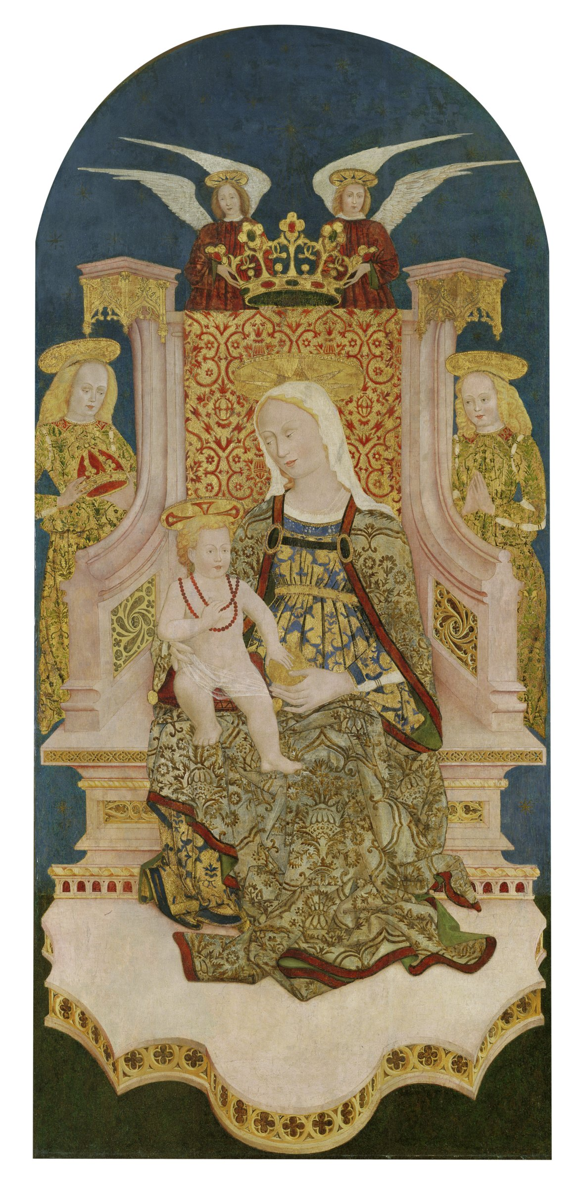 Surrounded by angels, the Madonna sits in a Gothic throne with the Christ Child on her lap. He wears a coral necklace and touches a gold ball that his mother is holding.