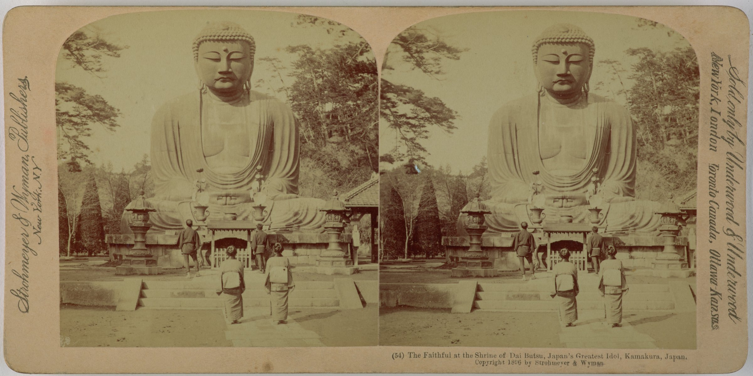 The Faithful at the Shrine of Dai Butsu, Japan's greatest Idol, Kamakura, Japan, Underwood & Underwood Publishers, gelatin silver prints mounted on card