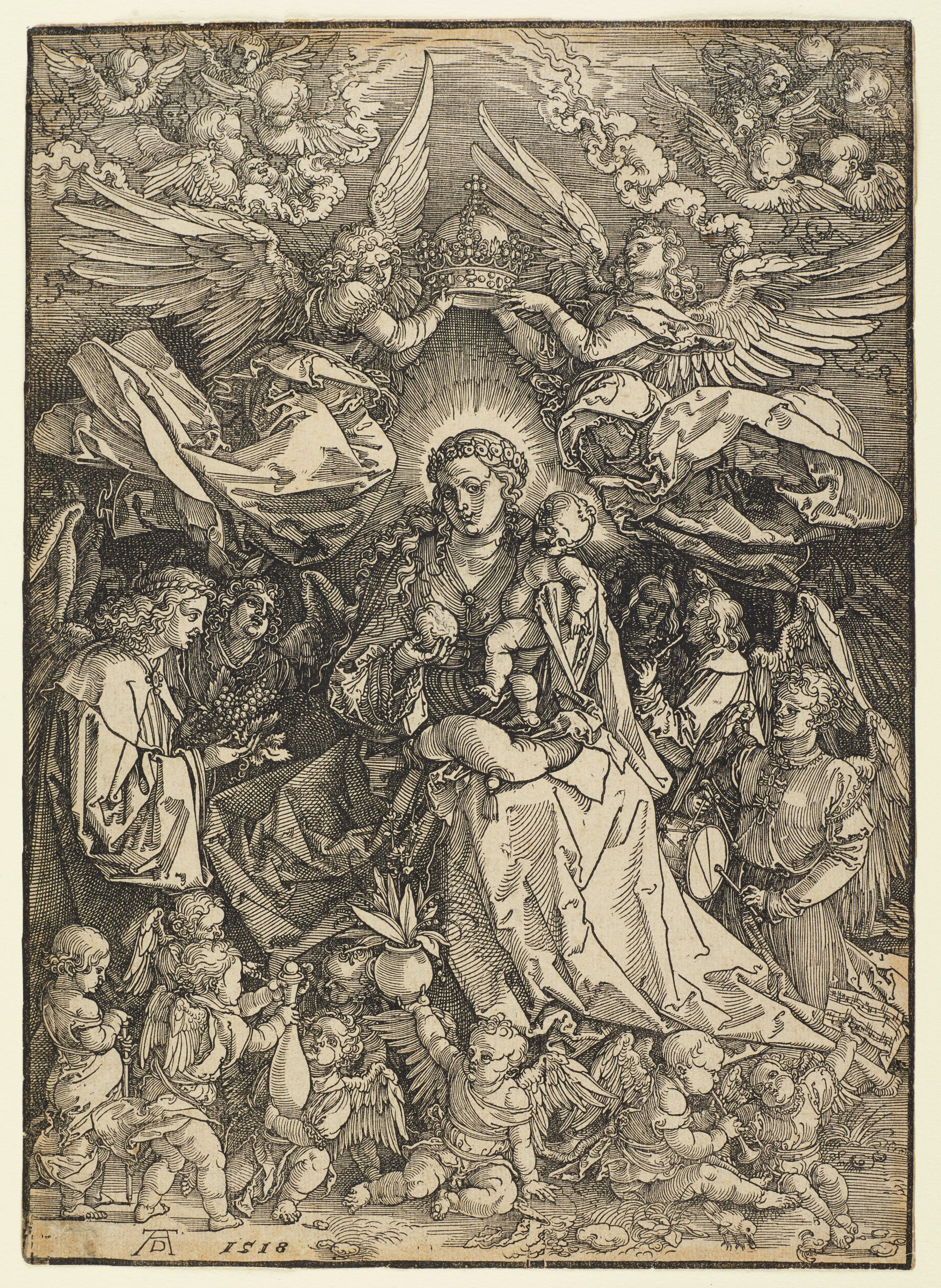 The Virgin Mary stands in the center of the composition holding baby Jesus. The two are surrounded by angels and putti. Two angels lower a crown onto Mary's head.