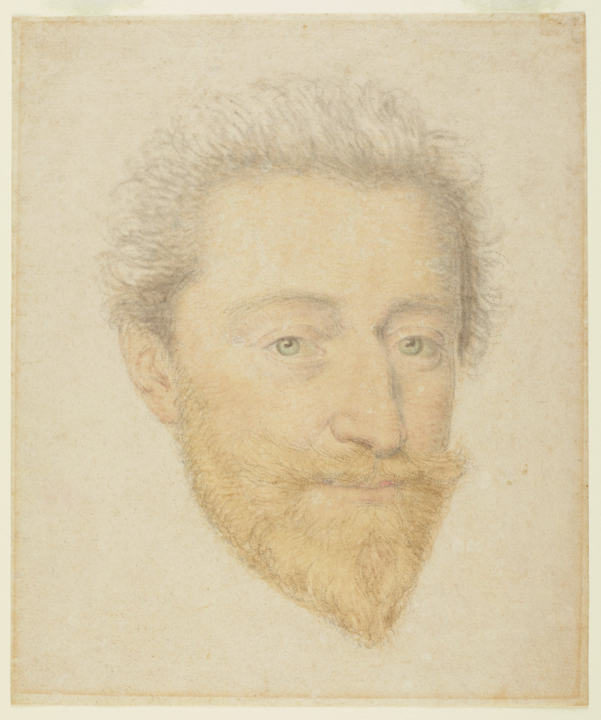 A portrait of a man's face with his hair brushed backwards, blue eyes, and a red pointed beard.