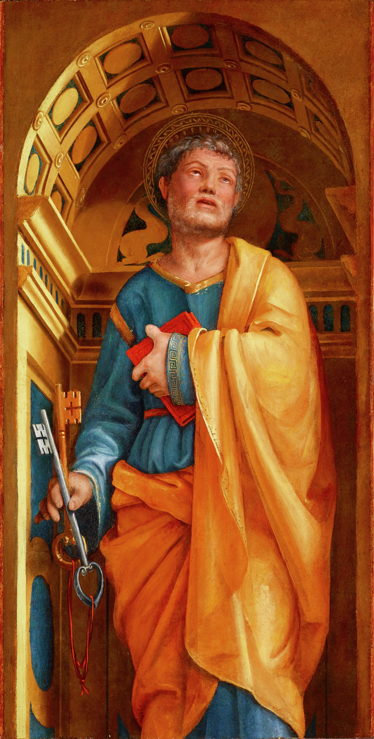Saint Peter, with a key in one hand and a book in the other, stands in a vaulted architectural space.