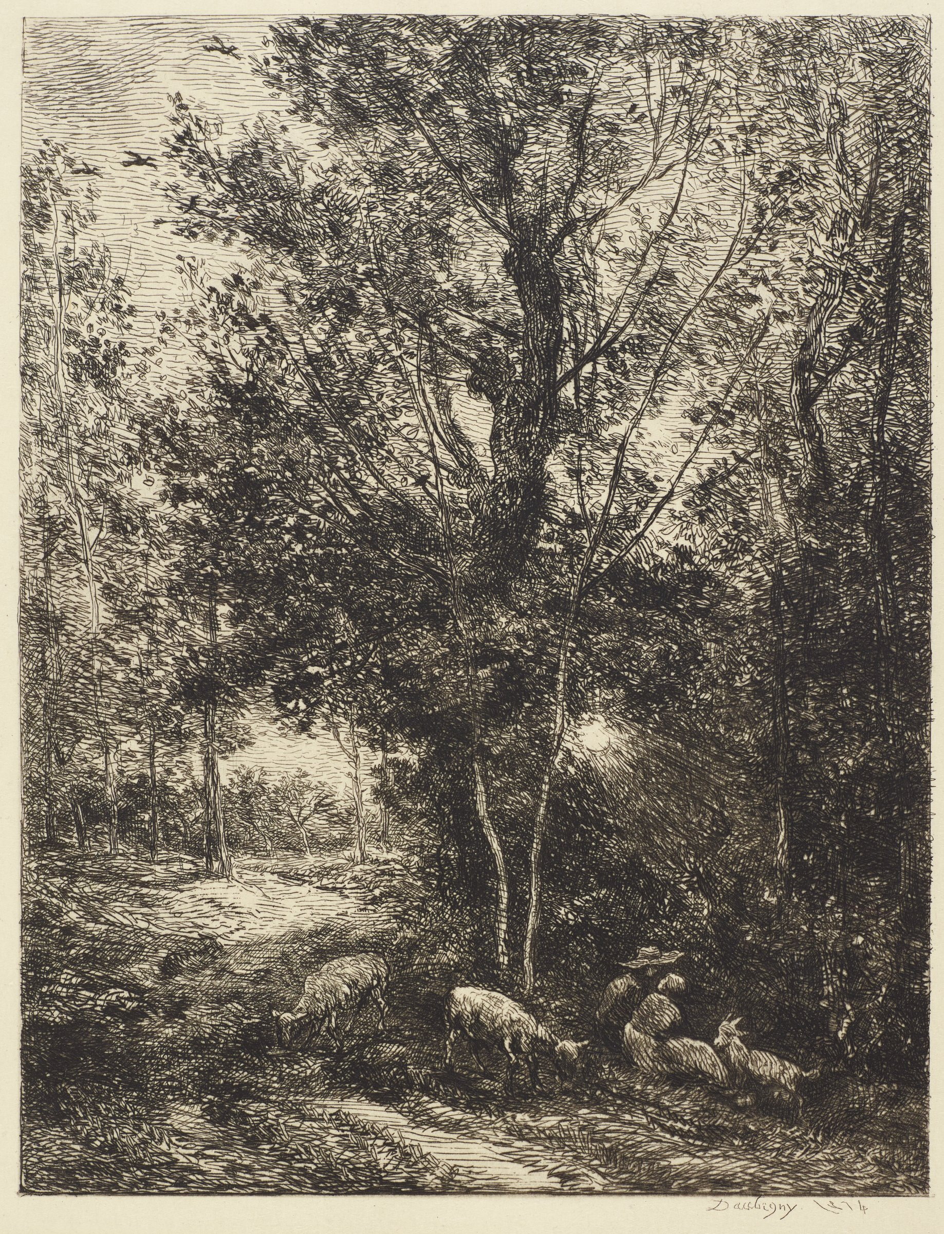 A shepherd and shepherdess sit in the right foreground with several sheep surrounded by trees.
