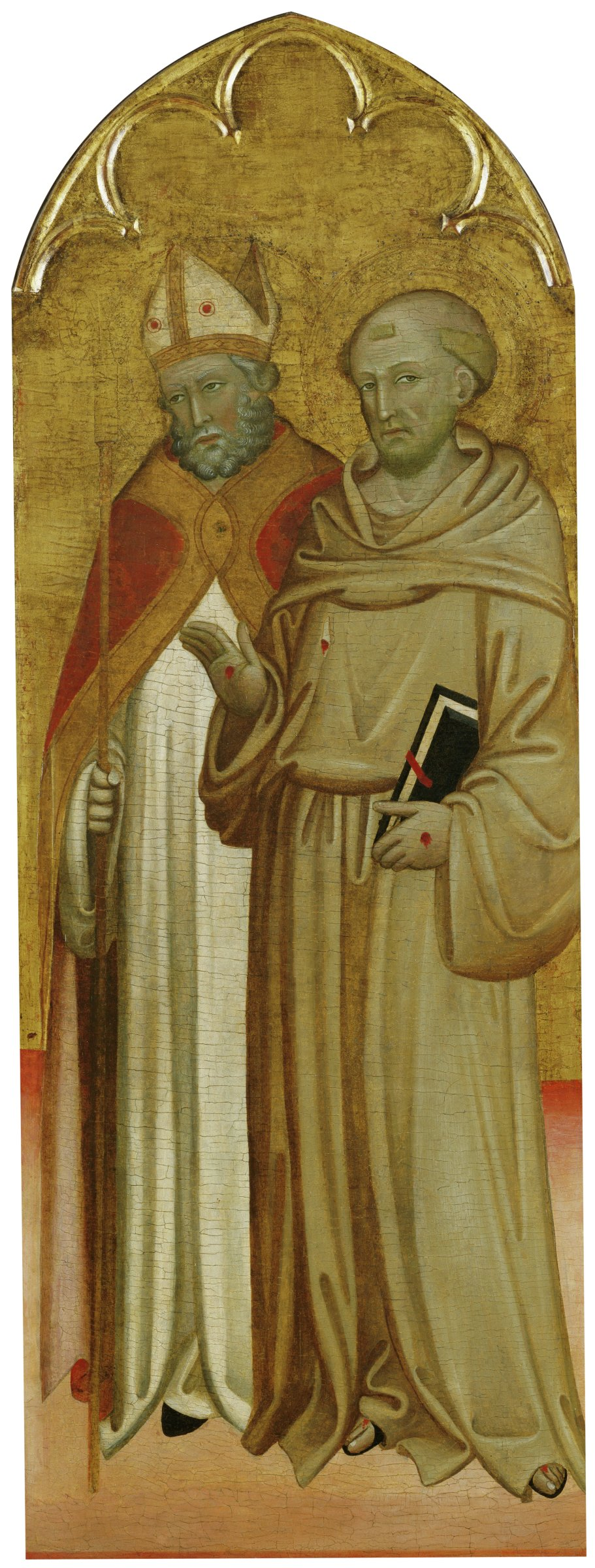 Saint Francis stands in his brown habit, displaying the stigmata or marks of the five wounds of Christ's crucifixion. An unidentified bishop saint stands behind him.