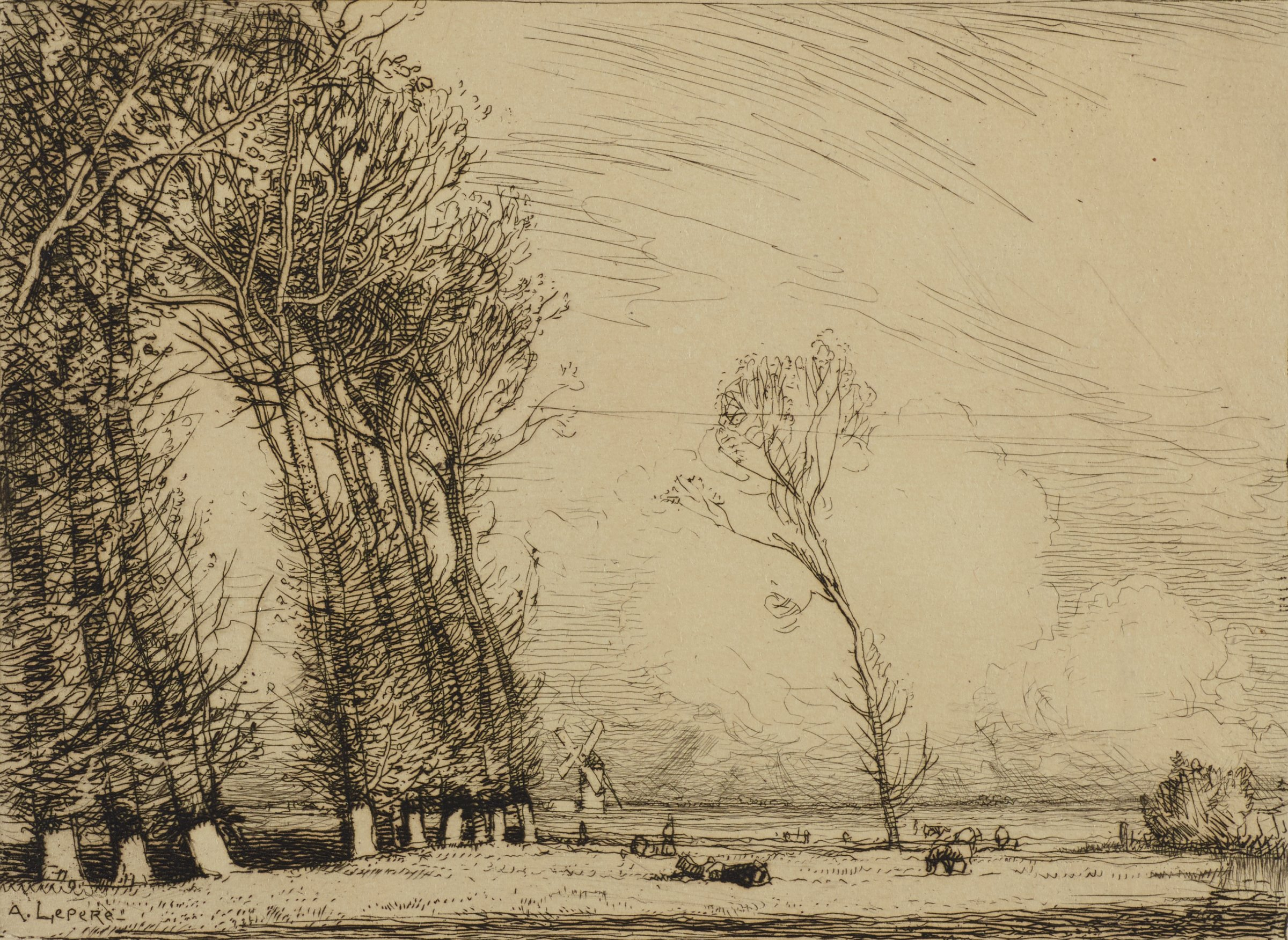 On the left, stands a line of tall poplar trees. One tree, half grown, stands near the center. Livestock grazes in a grassy field. A windmill turns in the distance. Wind blows in from the right side causing the trees to bend slightly to the left.