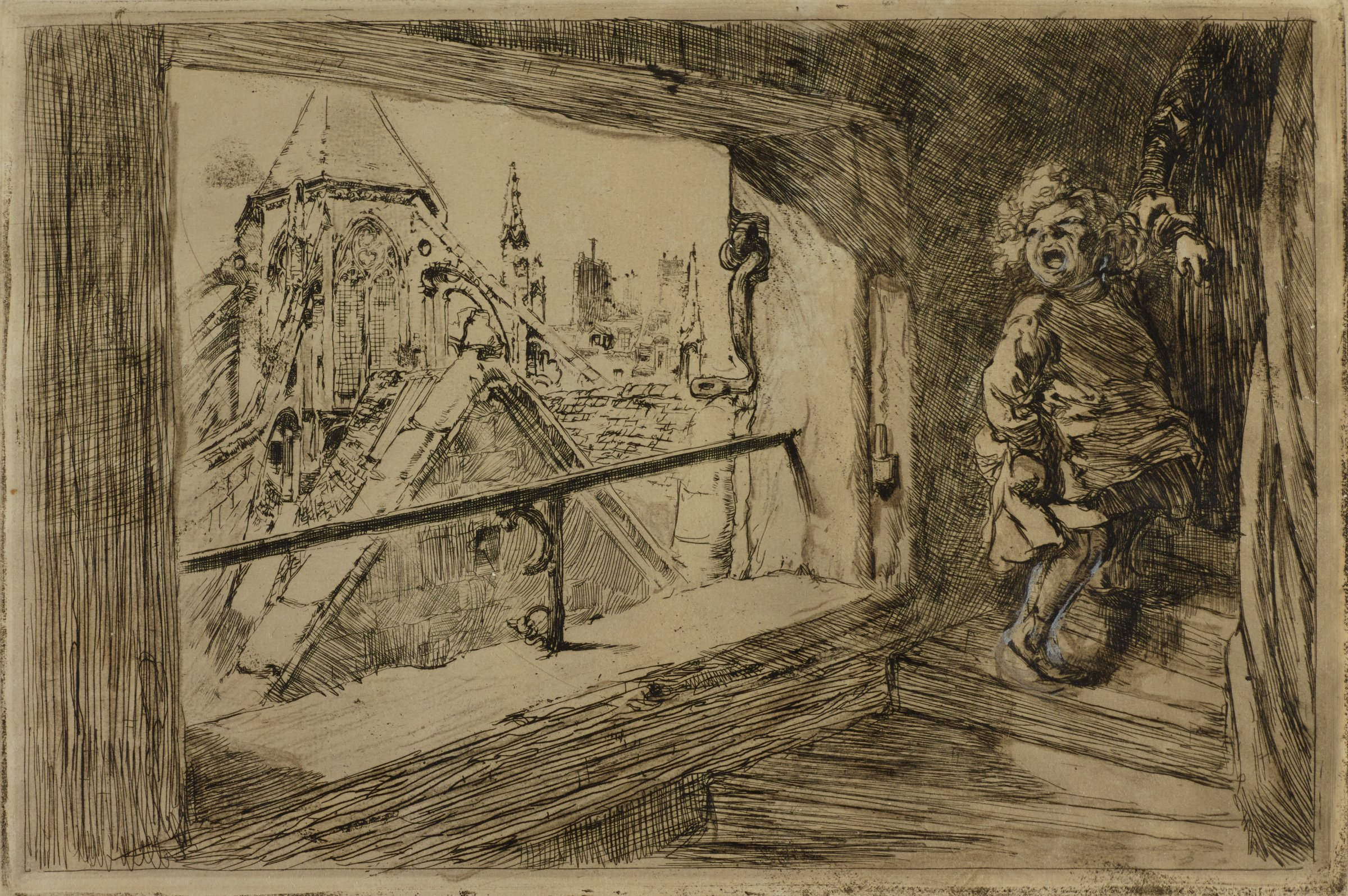 On the right, a child is being pulled up the stairs by a figure that cannot be fully seen. On the left is an open window with railing looking out onto the roofs of the church.