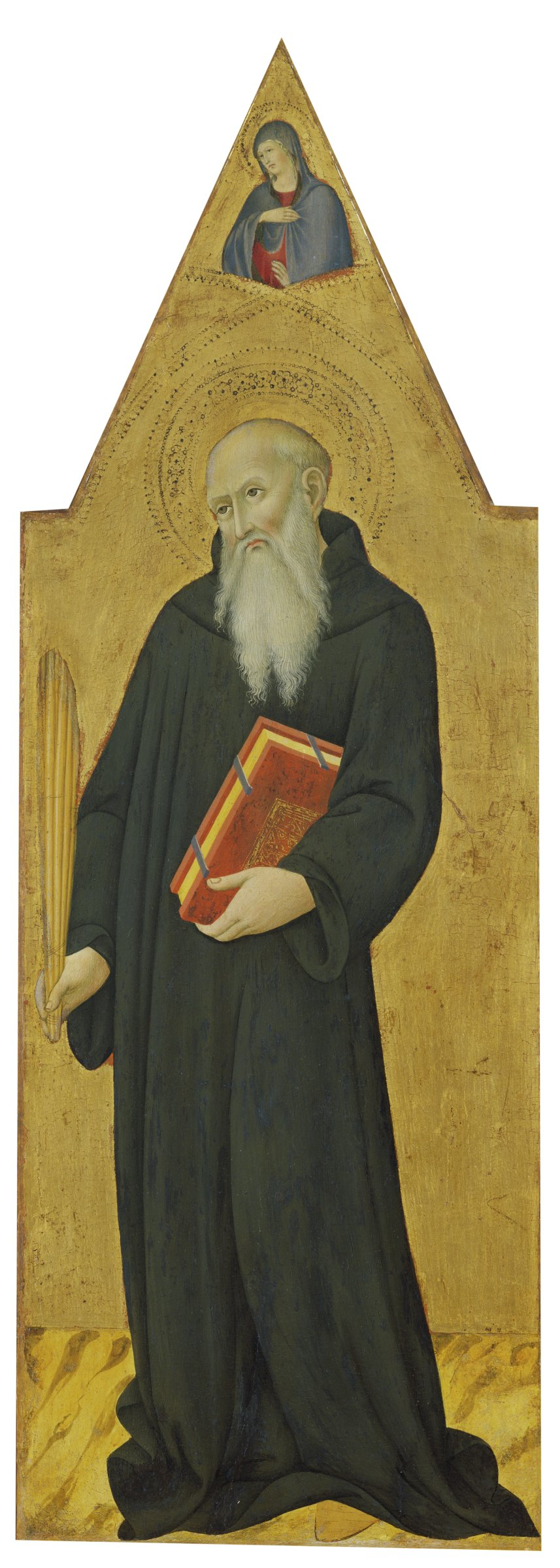 In this narrow, vertical painting, Saint Benedict stands holding a book and a quill pen. Above his head hovers the Virgin Mary, part of an Annunciation scene completed with the appearance of the angel Gabriel in the companion panel of Saint Augustine.