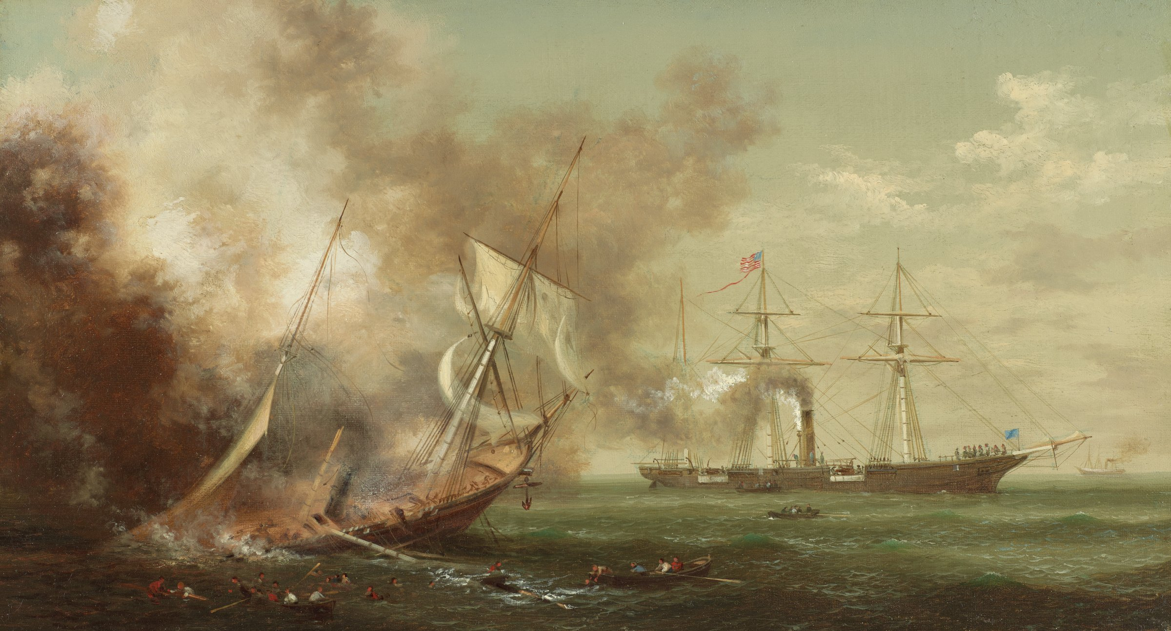 A painting of the Battle of Cherbourg, a naval engagement of the American Civil War that occurred off the coast of Cherbourg, France on June 19, 1864. In the foreground, at lower left, the CSS Alabama, a screw sloop-of-war, founders, listing to the starboard side, with its stern submerged. Confederate sailors clamor to abandon the sinking ship, which is enveloped by smoke, a reach the safety of the lifeboats. In the distance, to the right, the USS Kearsage, a Mohican-class sloop-of-war, floats parallel to the horizon line, with its starboard (proper right) side facing the viewer. White smoke issues forth from a smokestack at the center of the ship and trails left. In the foreground, blue-green water occupies the bottom quarter of the canvas, while in the background, the blue-grey sky—with black, white and grey smoke at right and scattered white clouds at left—covers the remaining three-quarters of the canvas.