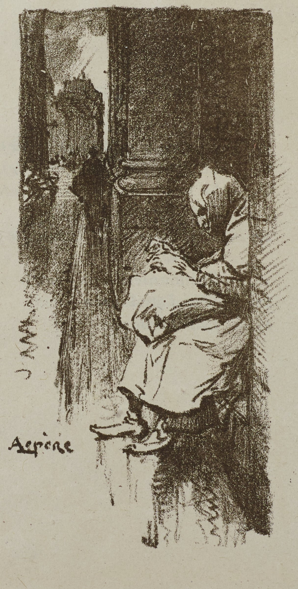 A woman sits in an alley holding a small child.