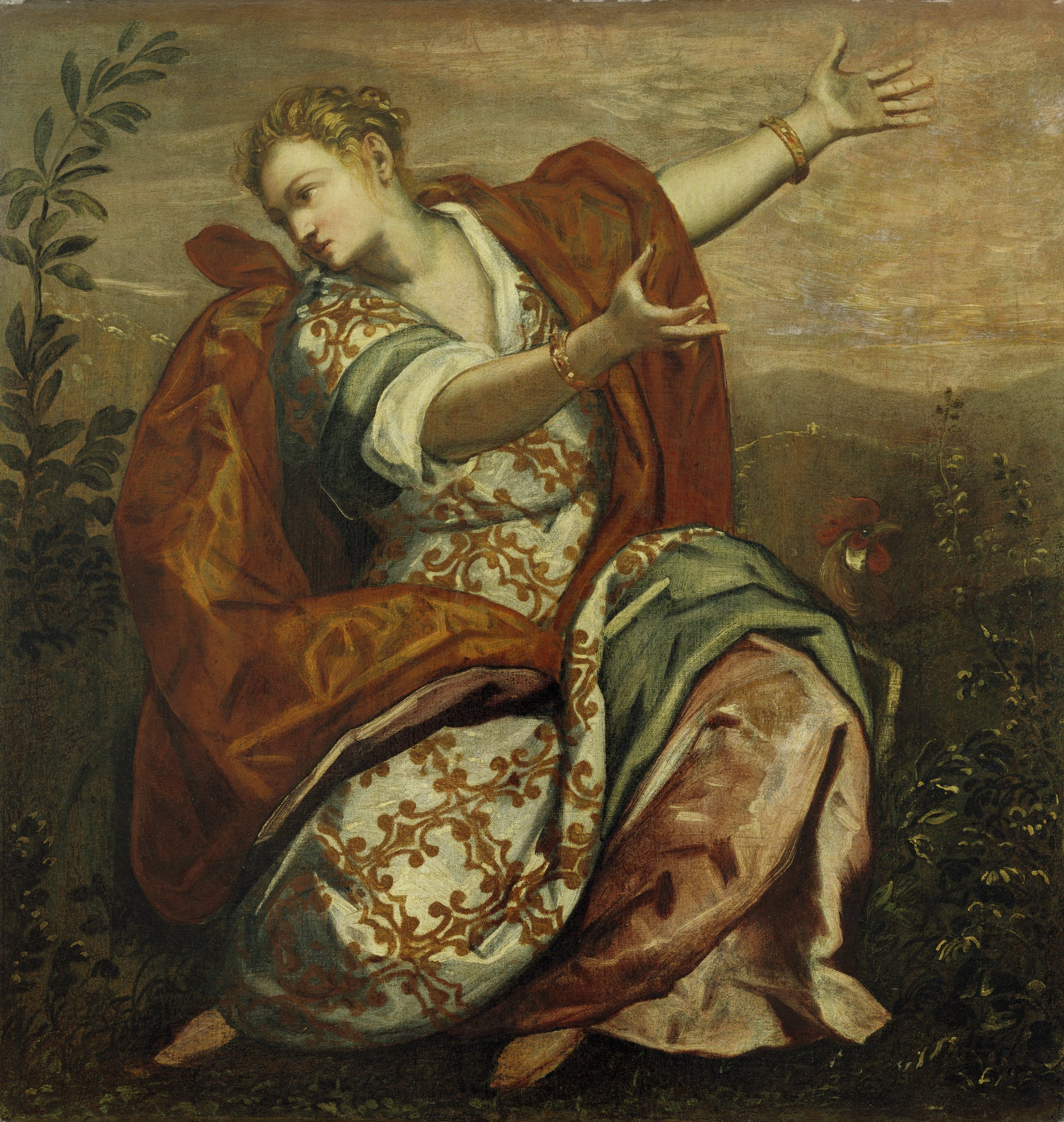 A seated woman in an elaborate Renaissance dress gestures expressively with her arms to express the importance of remaining watchful.