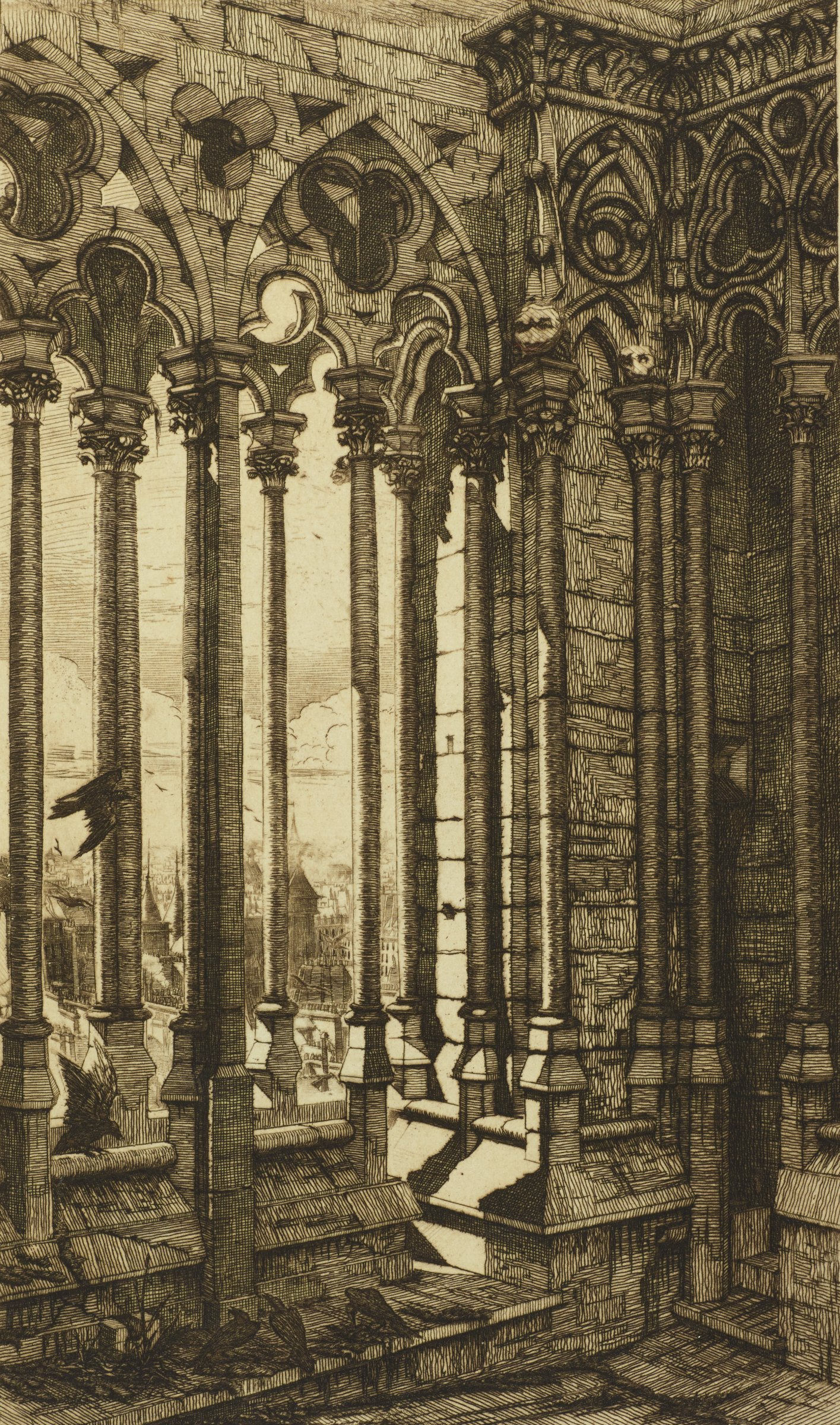 View of an upper opening of Notre Dame Cathedral. Several birds fly into the room and land on the step below. Paris is barely seen through the columns.