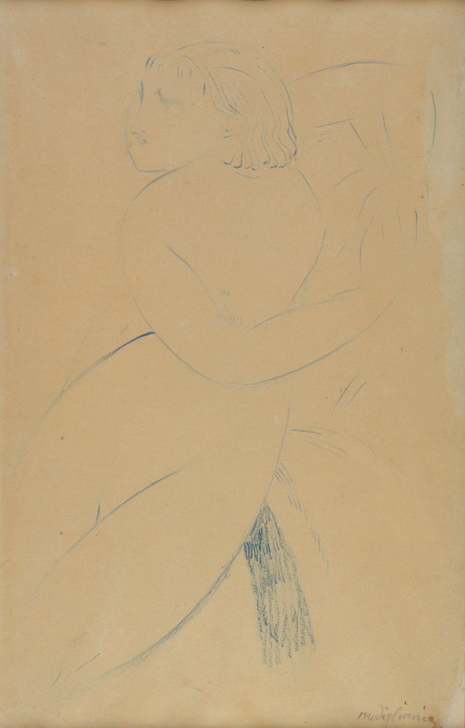 Sketch of a nude woman. Her upper half is turned towards the right. She holds out her arms. Her head is turned to the left.