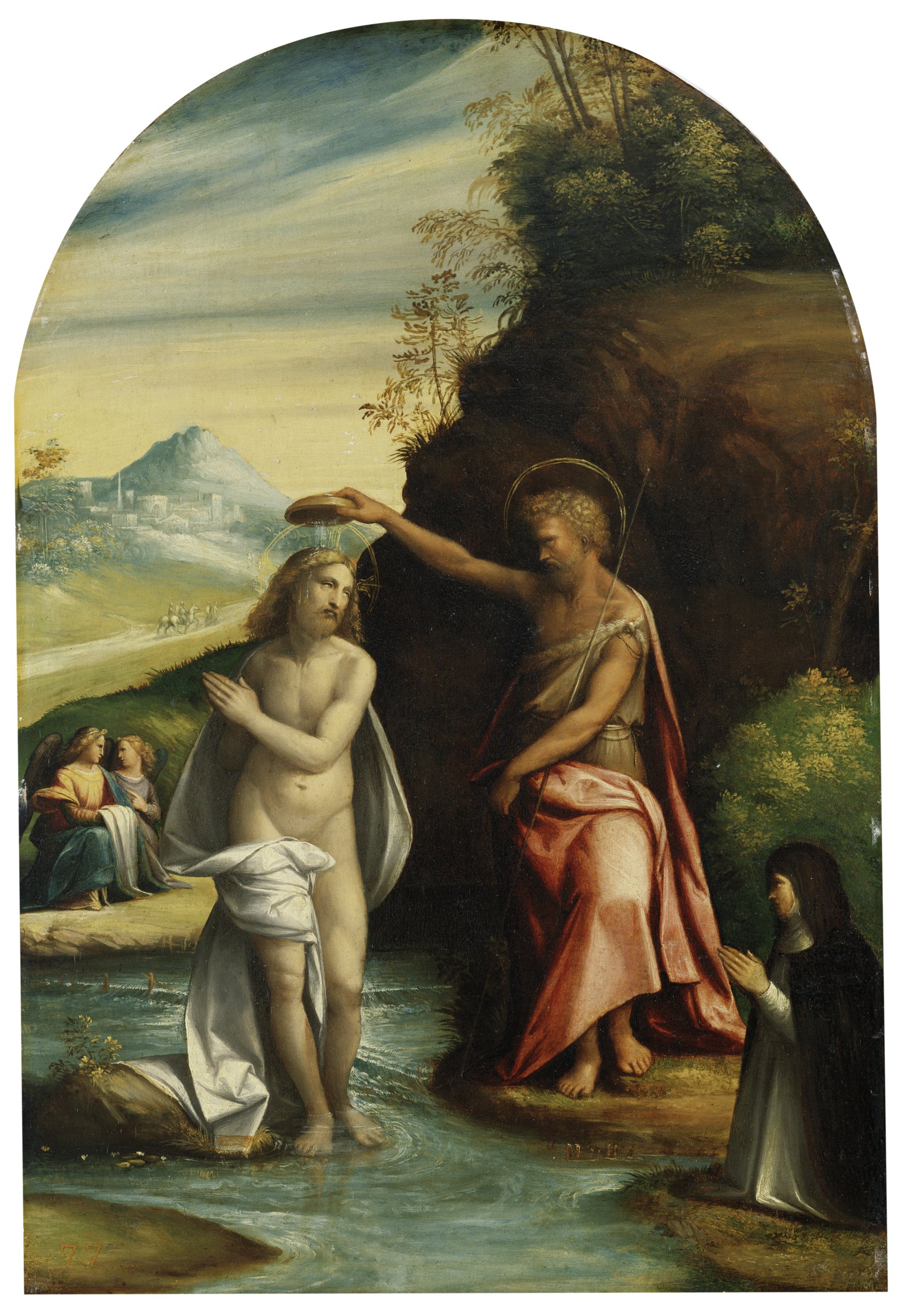 John the Baptist pours water from a bowl onto Christ who stands in a stream. A Dominican nun kneels in the foreground below John and two angels look on in the background.