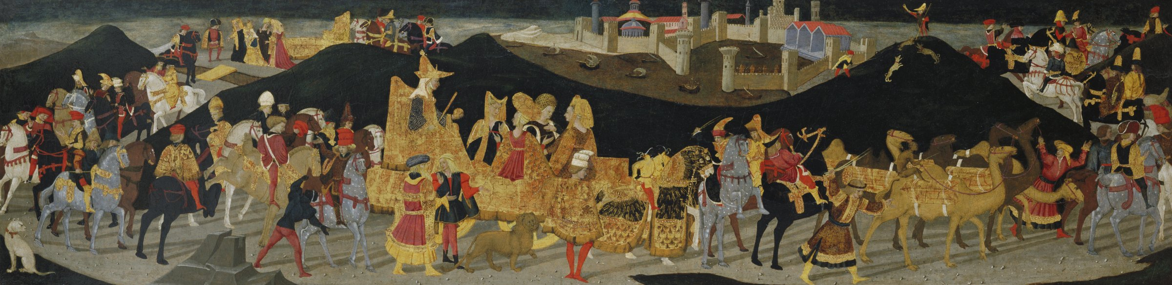 In the narrow horizontal scene, a large procession of knights, horses, and camels move from left to right through the landscape accompanying the Queen of Sheba who is being carried on an elaborate palaquin.