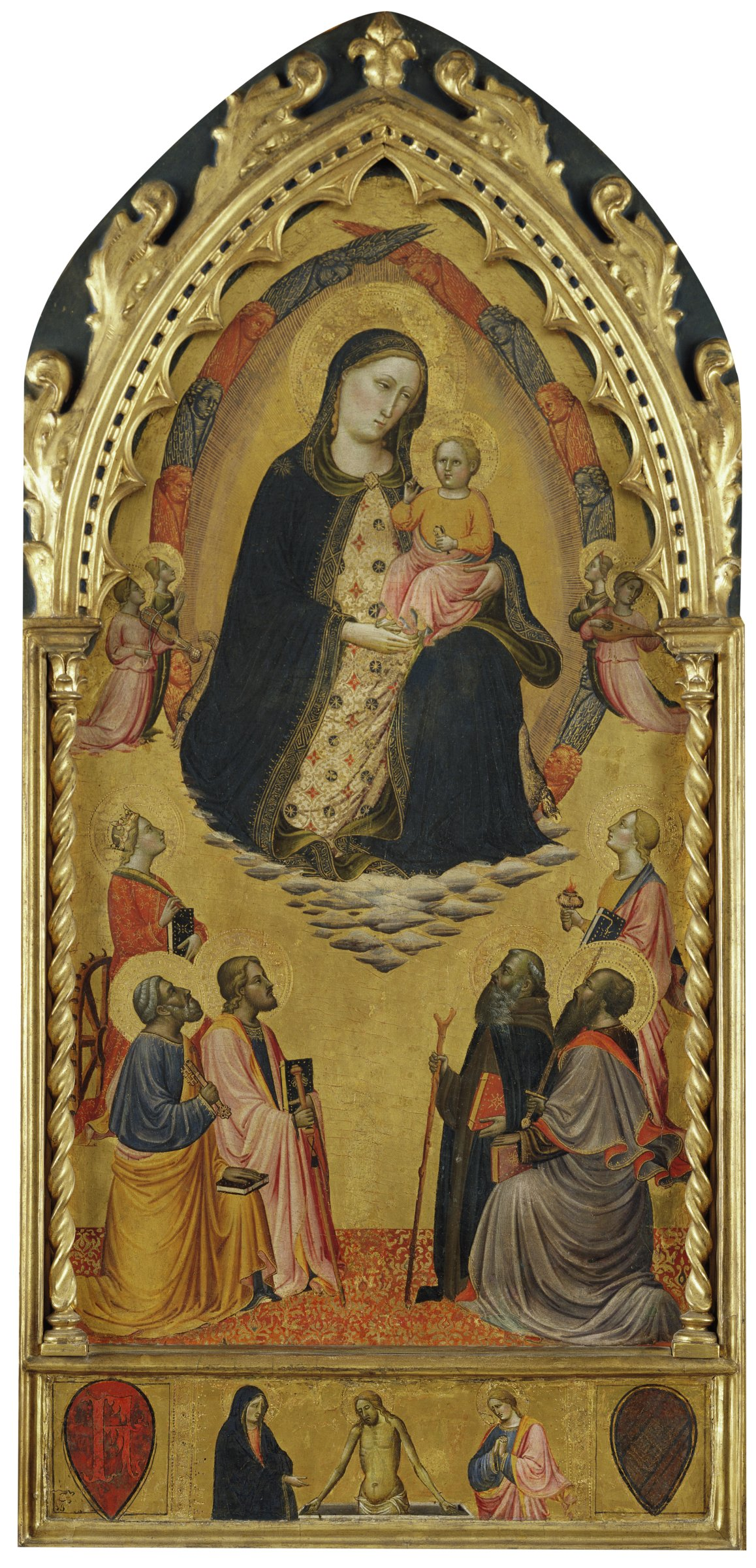 The Madonna with the Christ Child in her arms is suspended in clouds above a group of six saints who look up at them.