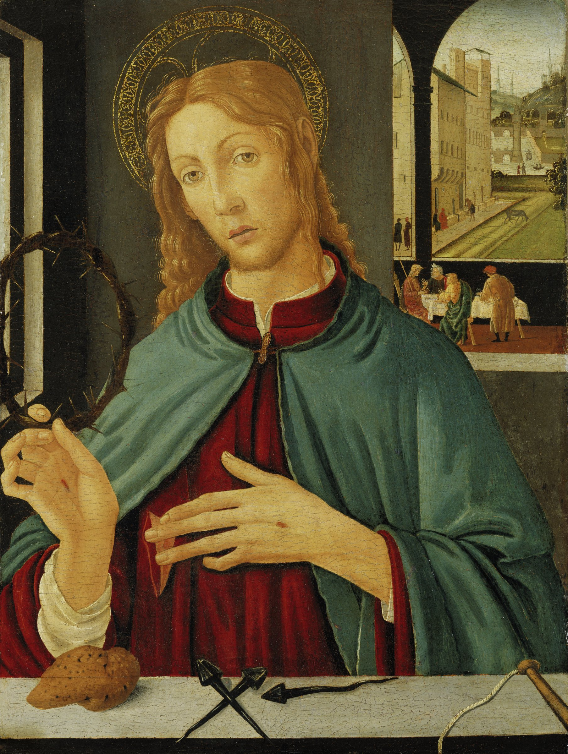 In a room with a view of an Italian medieval landscape, the risen Christ appears with the instruments of his Passion: a crown of thorns, three nails, a scourge, and a sponge soaked in vinegar.