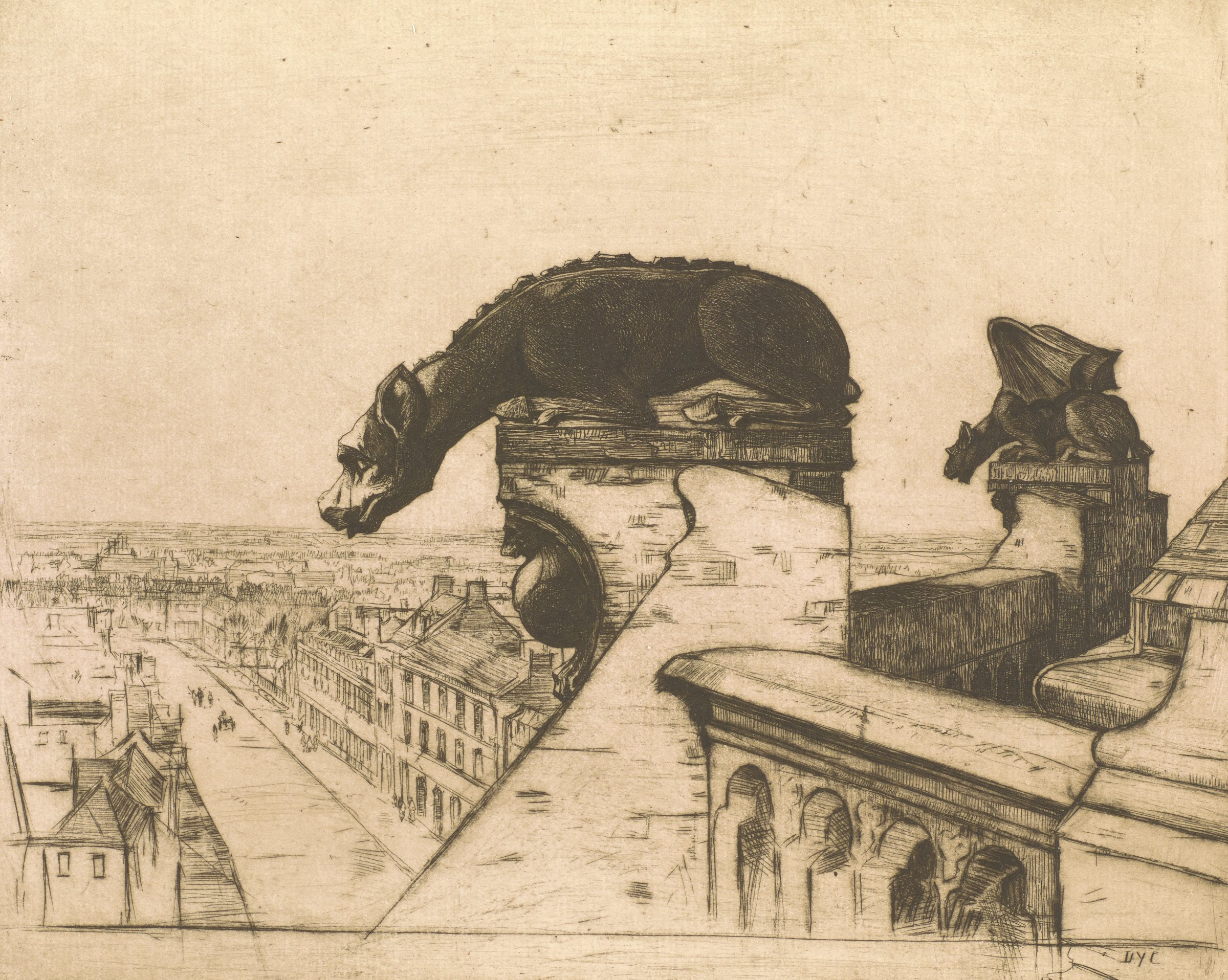 A sculpture sits atop a cathedral of a wingless chimera looking down at the city below. Another chimera decorates the cathedral in the background.