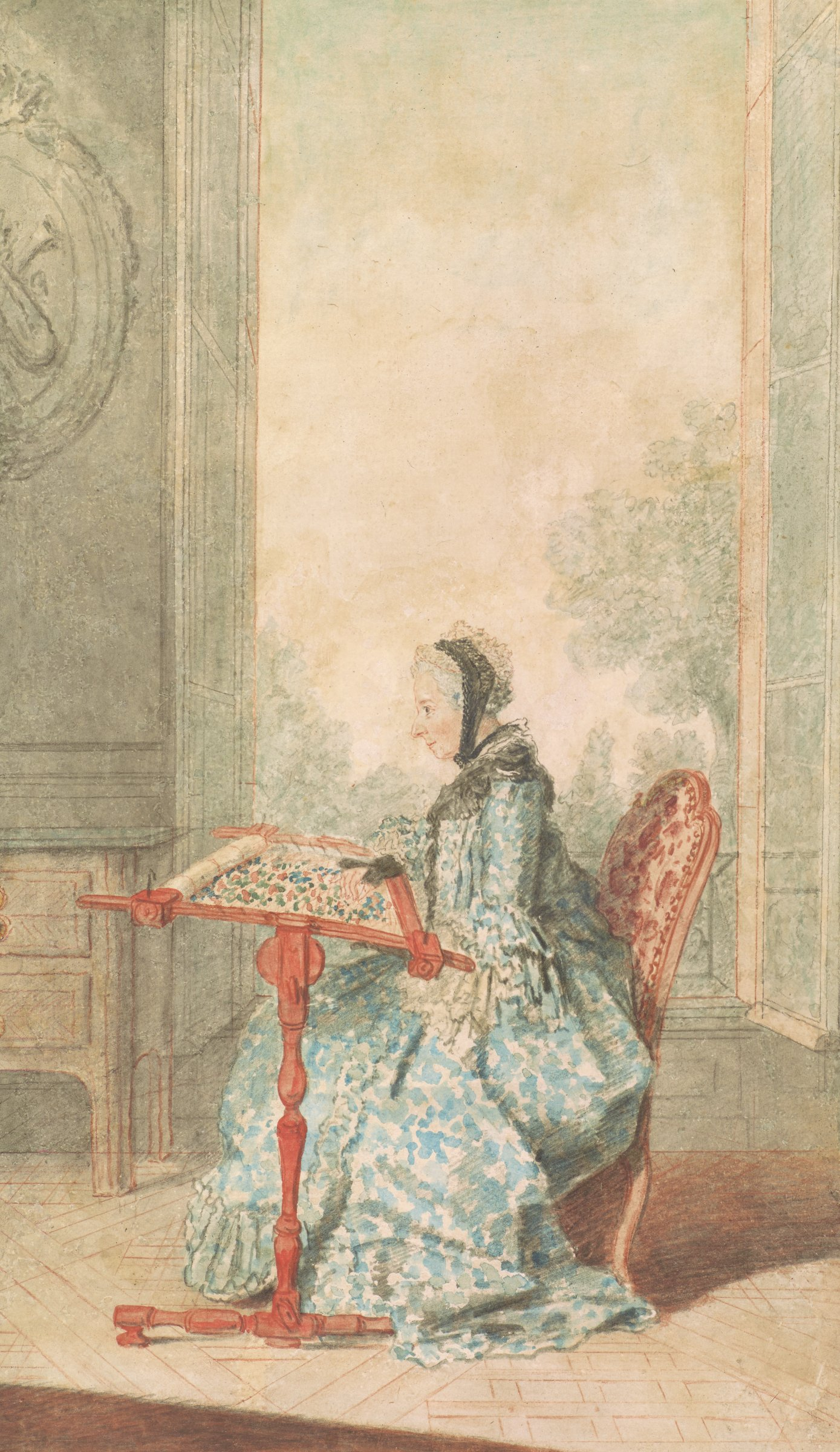 An elderly lady in blue is seen in profile to the left, working at an embroidery frame before an open French window permitting the glimpse of a park.