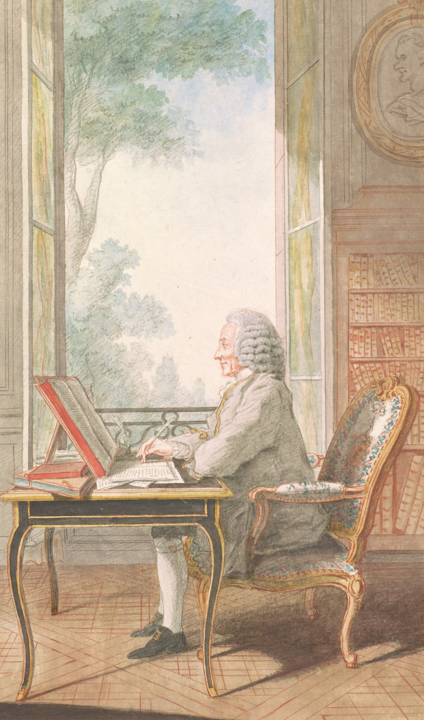 Seated man facing left, writing at a desk. He sits in front of a large open window. Bookshelves along the back wall to the right of the window, with an oval portrait above.