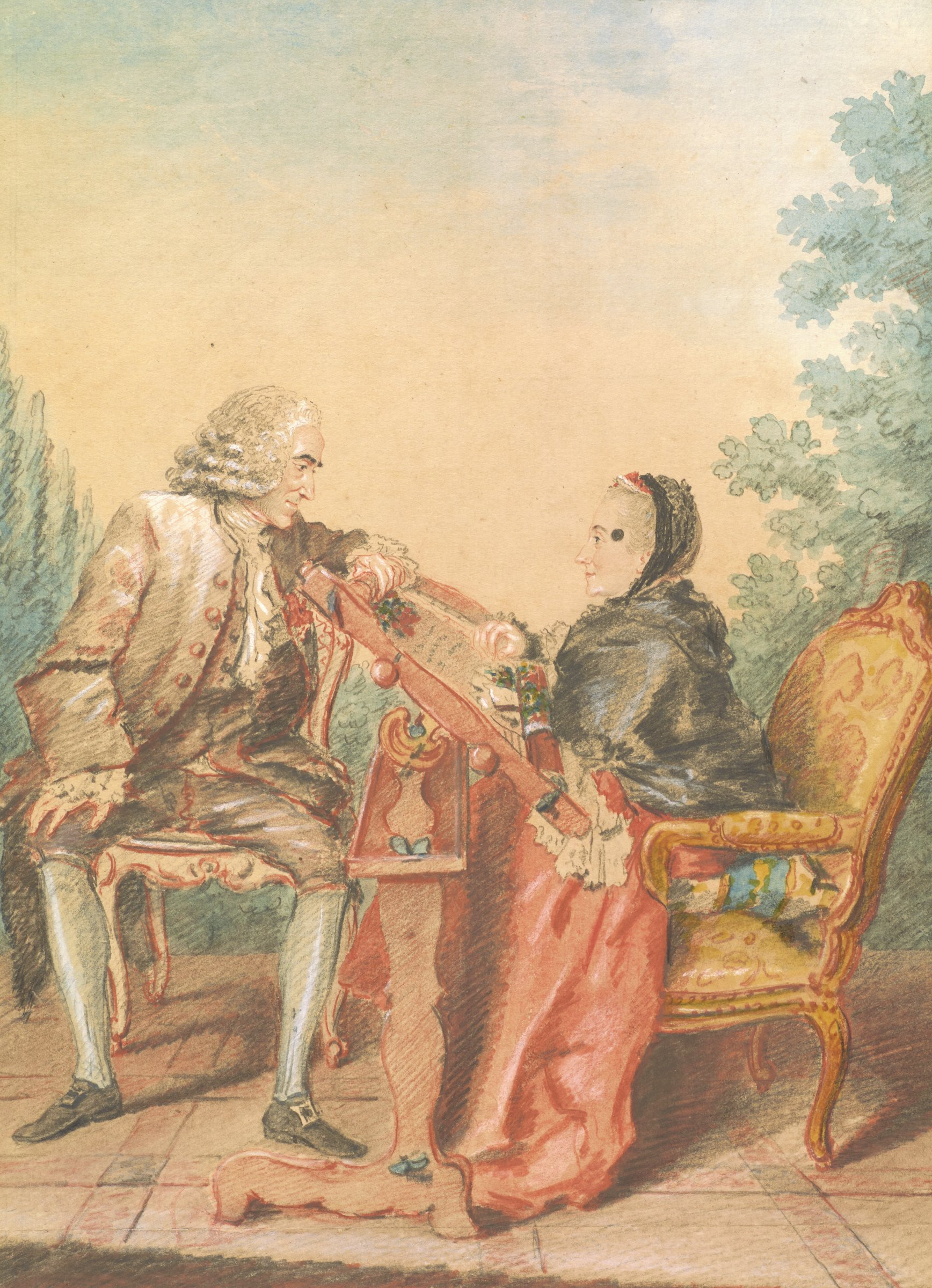 An elaborately dressed couple sits facing one another. The lady sits at an embroidery frame while the gentleman leans onto the frame. Both figures are in profile.