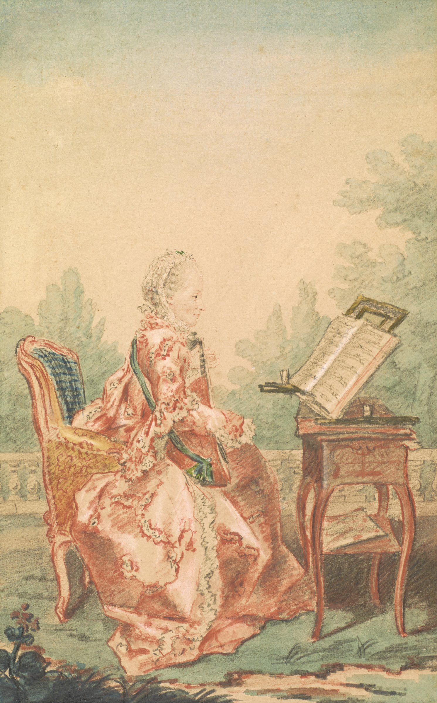 A woman in profile and dressed elaborately plays a stringed instrument while reading sheet music. She is set outside within a terrace.