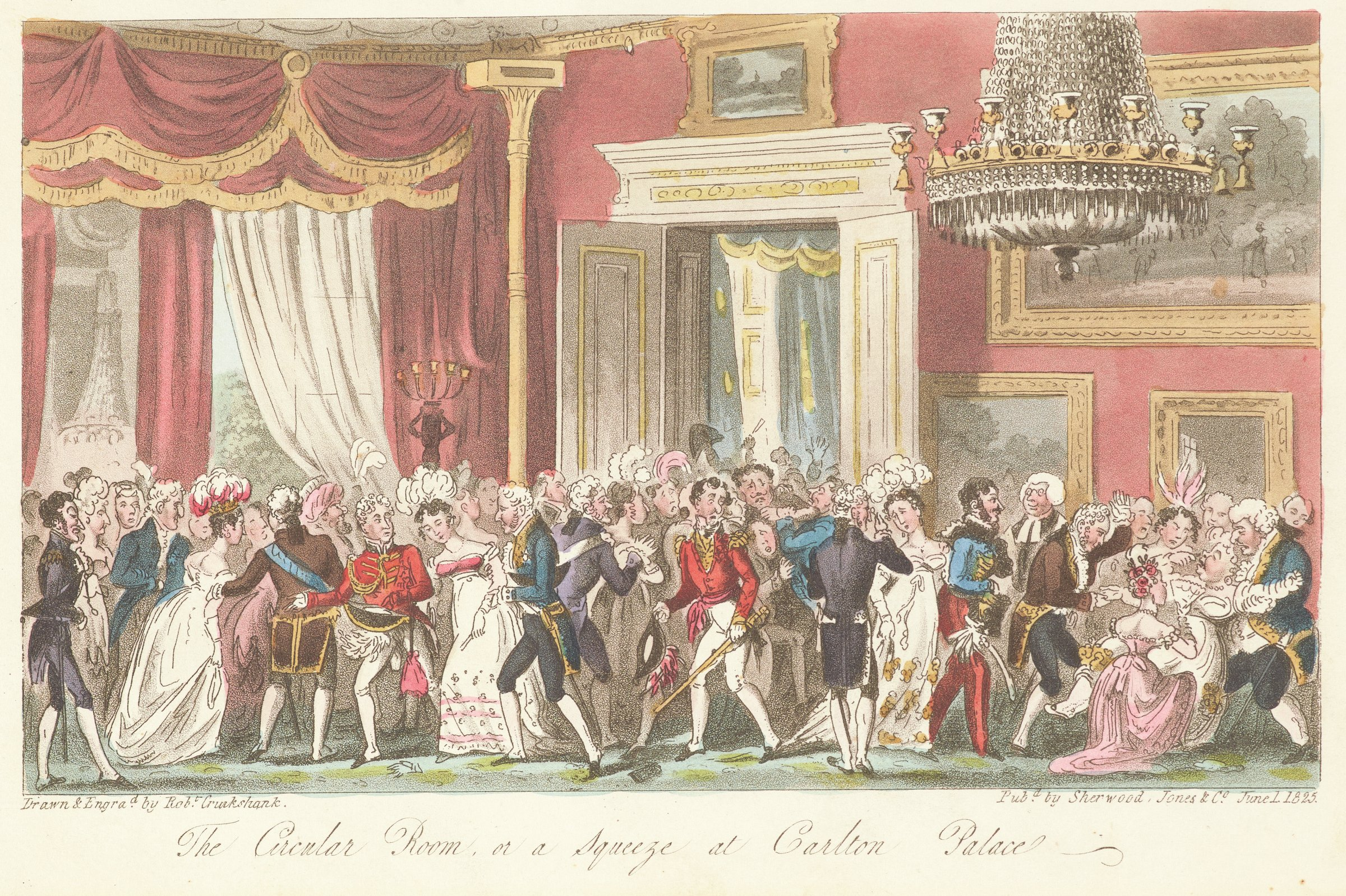 Scene of ladies and gentlemen at a ball in an elegant interior with a large chandelier hanging on the right. A woman faints on the right.