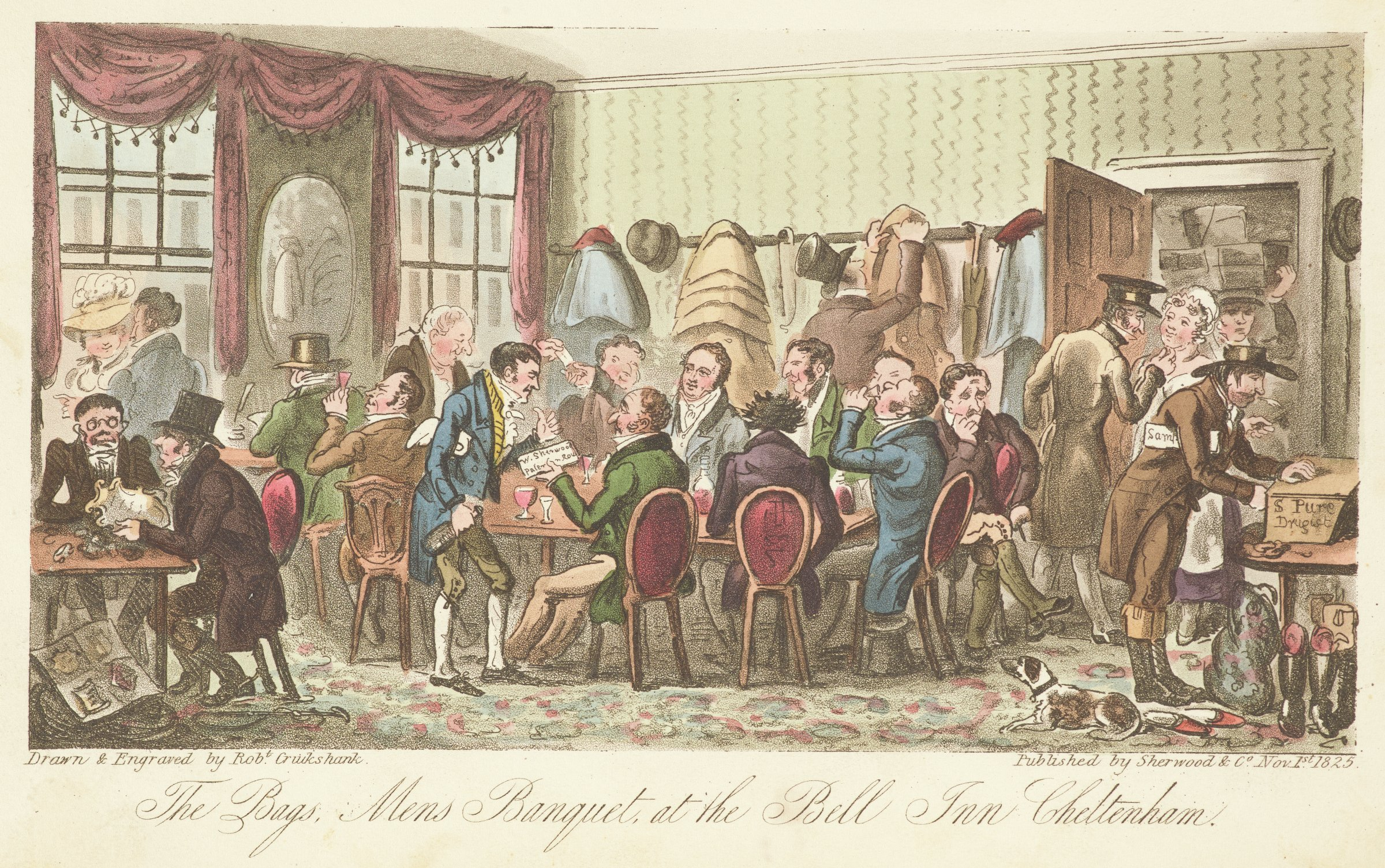 Scene of gentlemen drinking at tables in an inn. A woman, whose chin is being tickled, enters a door, on the right. On the other side of the room, a man talks to a woman through an open window.