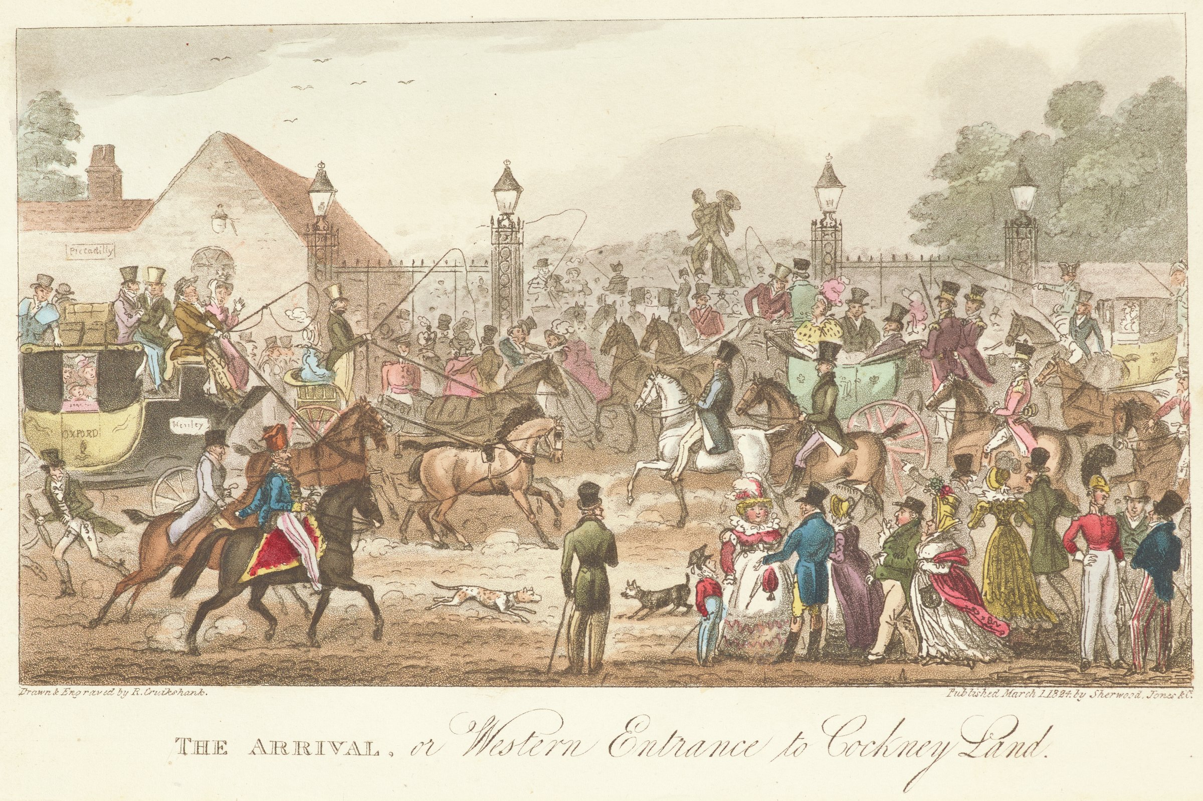 Crowded scene of ladies, gentlemen, and horses in front of a gated entrance beyond which there are more crowds of people.