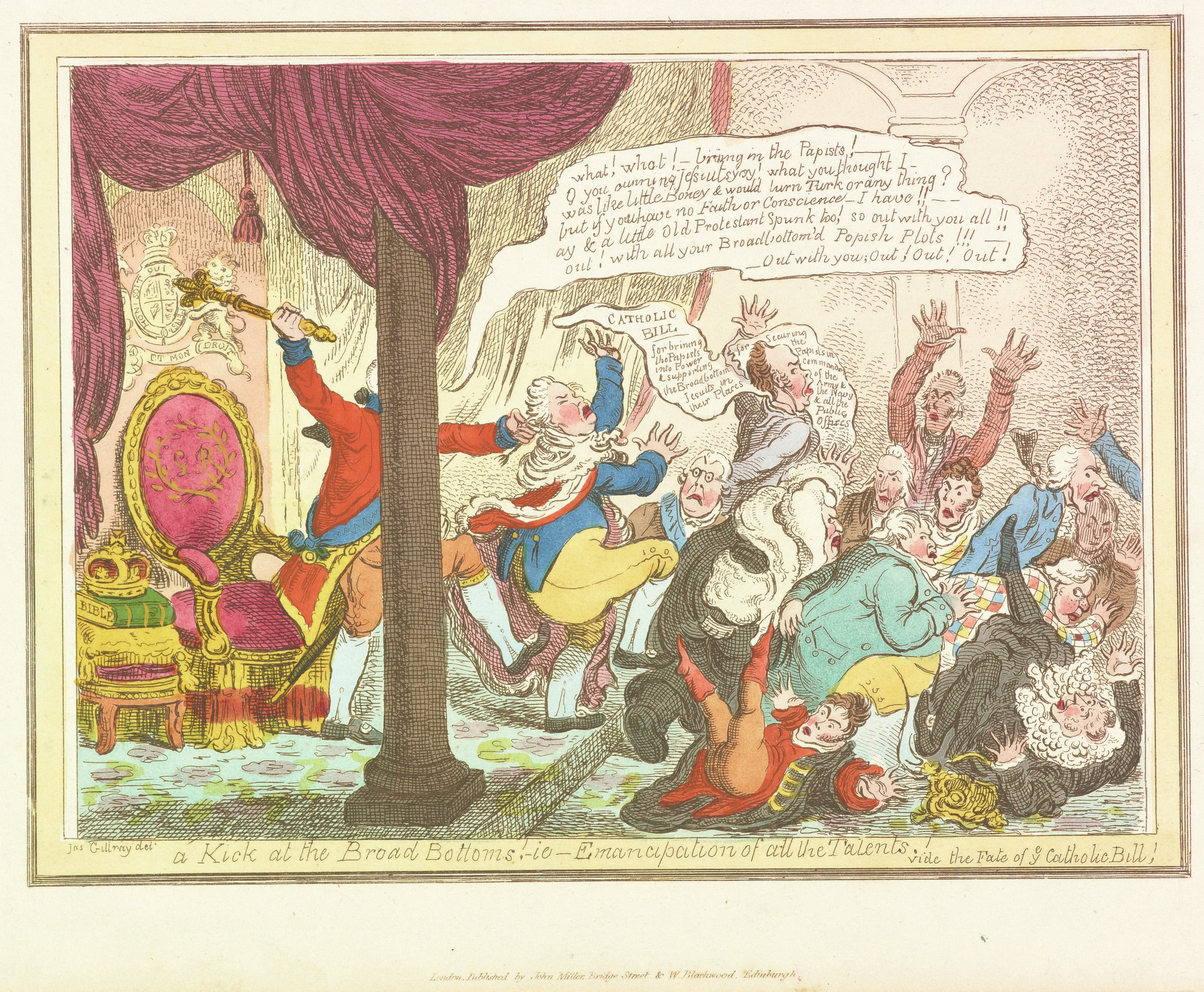 Scene of King George III (whose face is hidden behind a column) kicking the bottom of a lord, pulling his hair, and raising his scepter as if to fell a blow. Other lords have tumbled into a pile trying to escape the king's violent response to their proposal of a bill of Catholic emancipation, which sought to remove legal tests and other restrictions on Catholics imposed since the reign of Henry VIII.