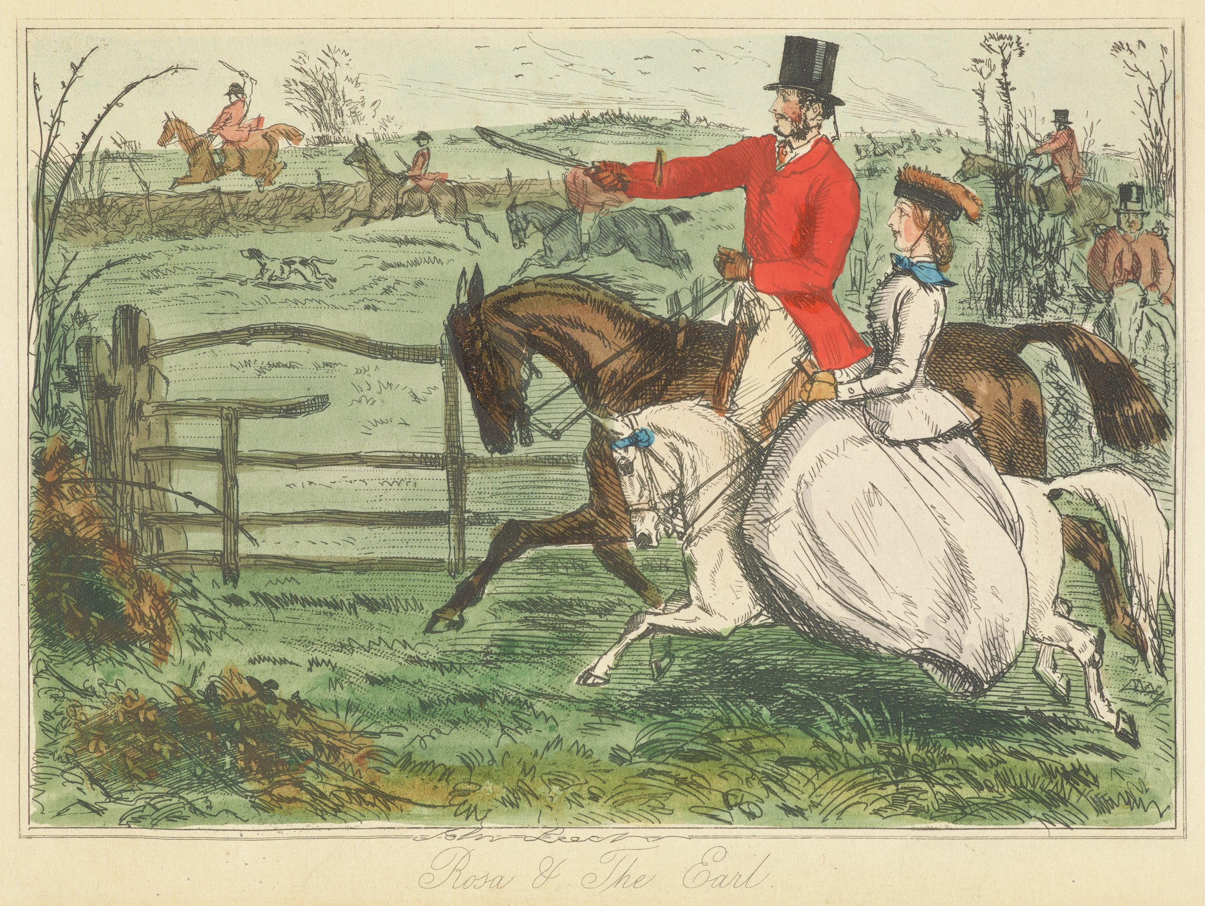 In the foreground, a gentleman in a red coat and black hat rides a brown horse next to a lady in a white dress riding a white horse. The horses run alongside a wooden fence. In the background, multiple gentleman riding horses are seen.