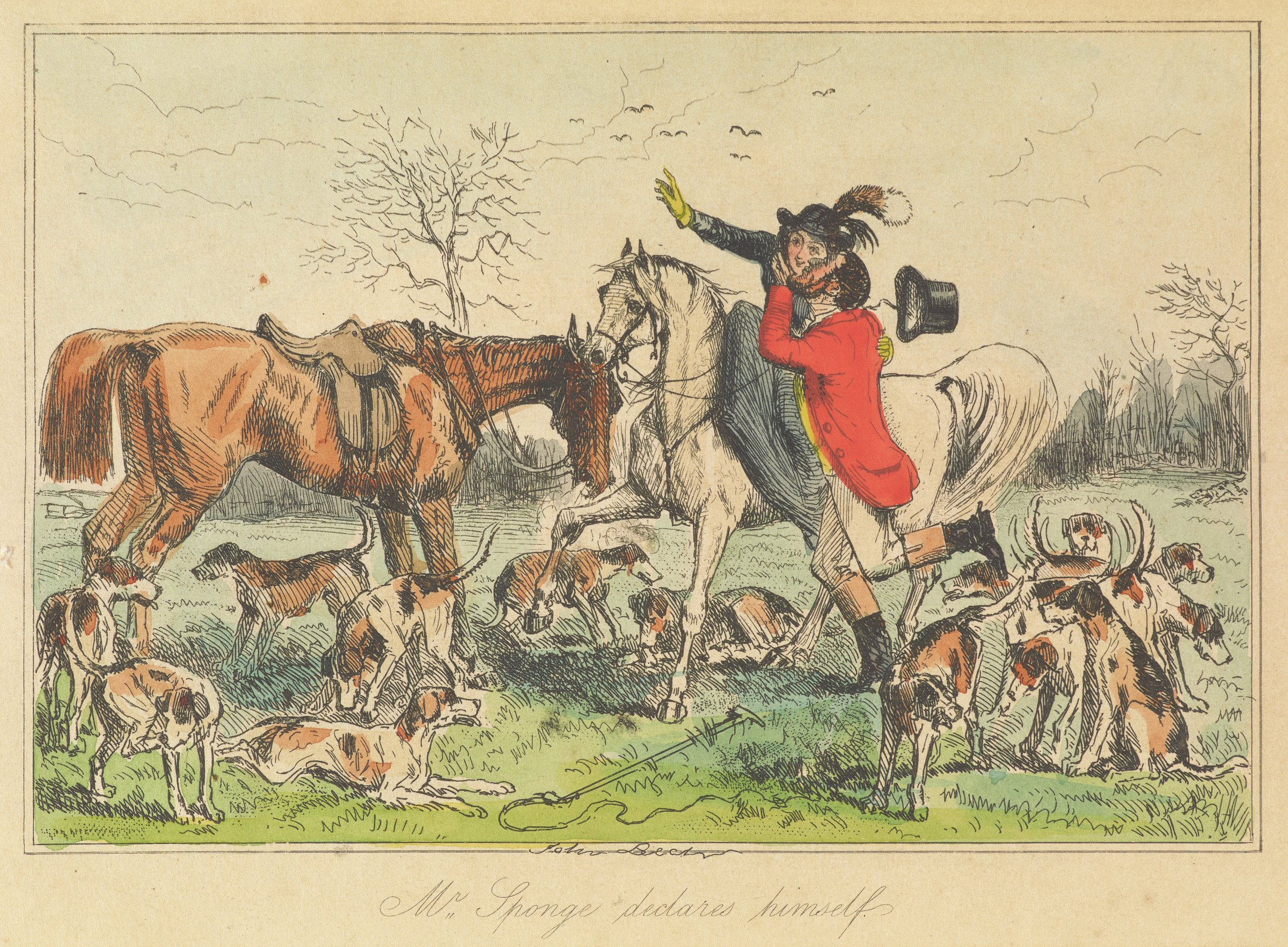 A woman sits on a white horse as a man in a red coat reaches up to kiss her cheek. A brown horse stands on the left. Brown, black, and white spotted dogs surround the figures.