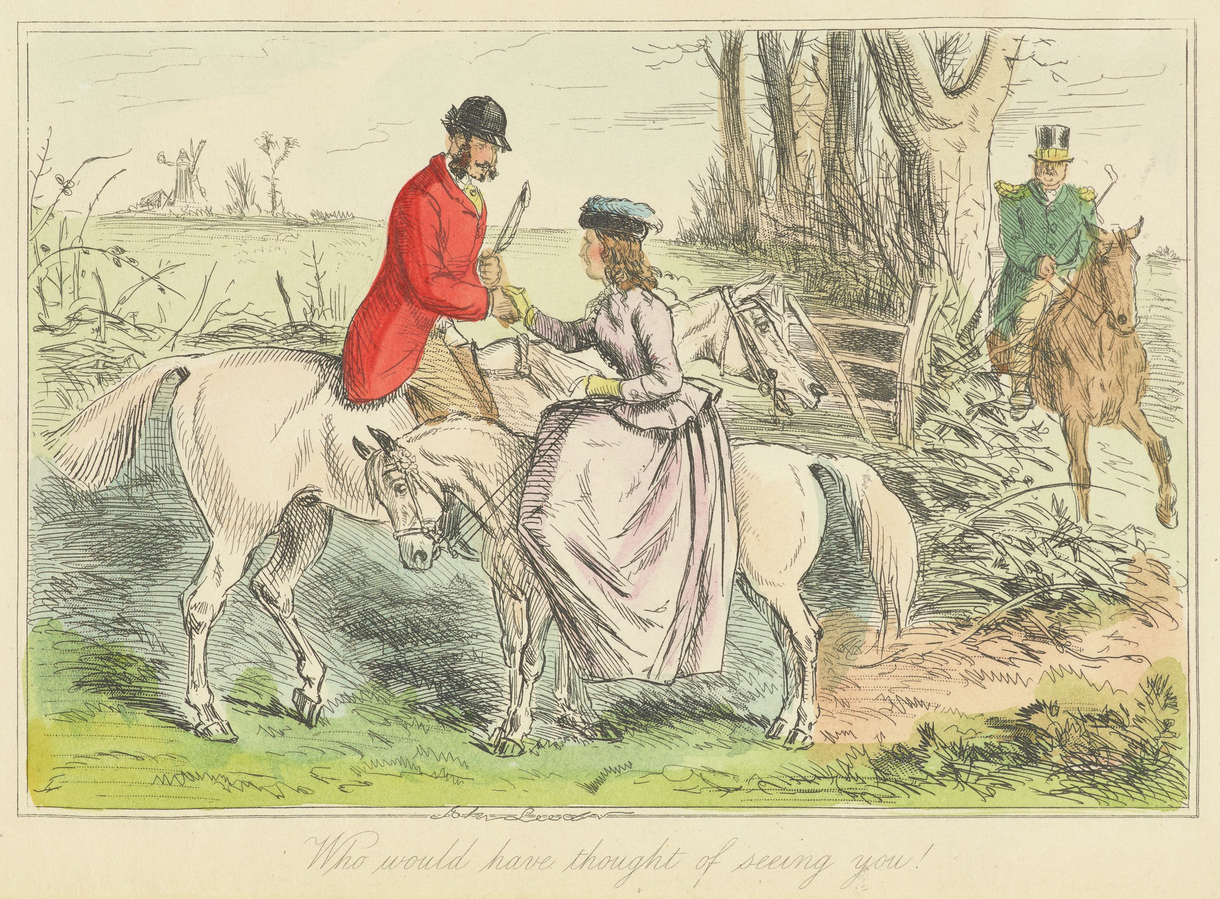 A gentleman in a red coat and black hat rides a white horse. They pass by a woman who rides a smaller white horse. They shake hands as the pass one another. A third figure, a gentleman in a green jacket, rides a brown horse behind them on the right side of the composition.