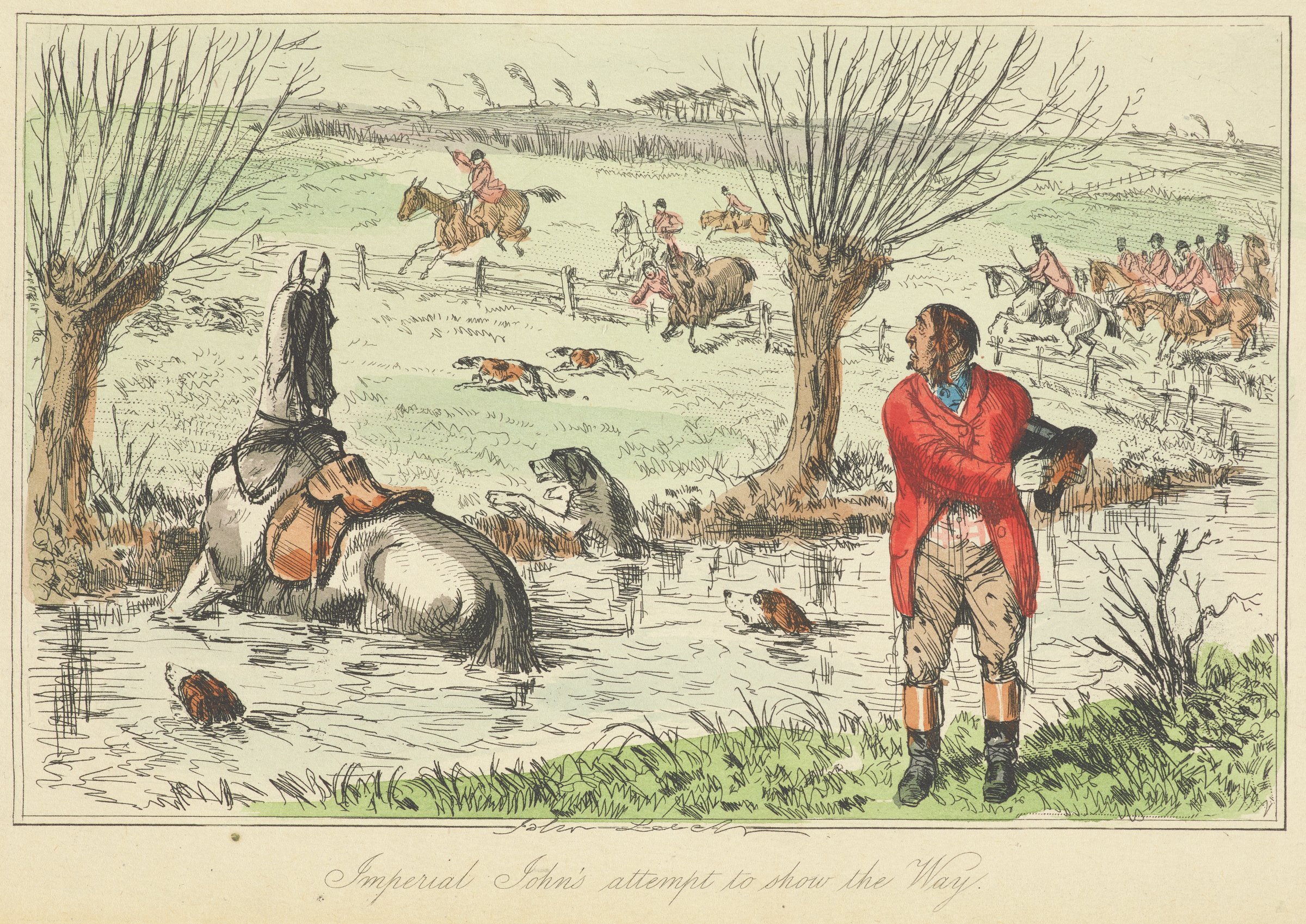 Imperial John's Attempt to Show the Way, John Leech, hand-colored engraving