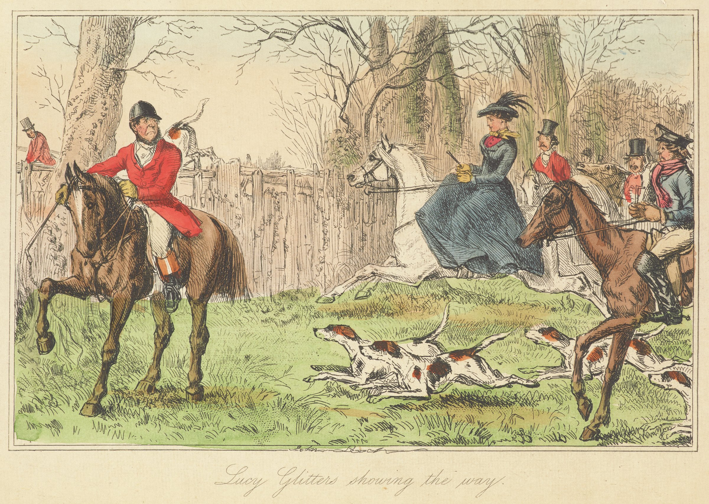 A lady riding a white horse leads a group of gentleman who are also riding horses. The group is heading towards a fence that they will jump over. A gentleman on the left looks at the scene with a disapproving grimace.