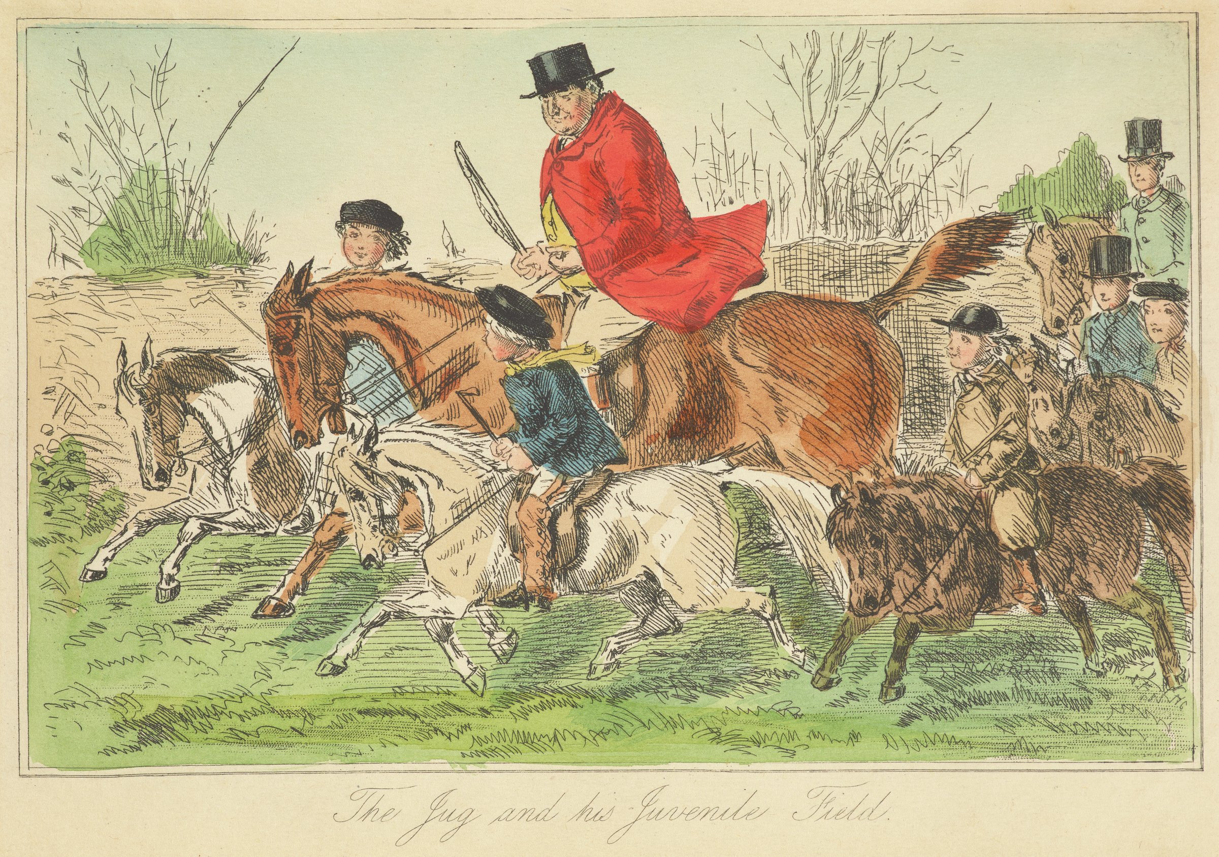 A man in a red coat rides a brown horse in the middle of children riding small horses.