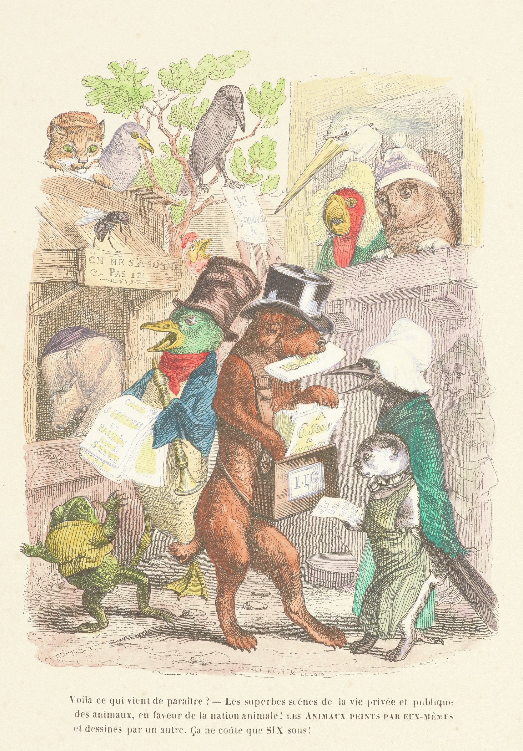 Various types of birds, dogs, and other animals are personified. A dog in a top hat distributes newspapers in the center.