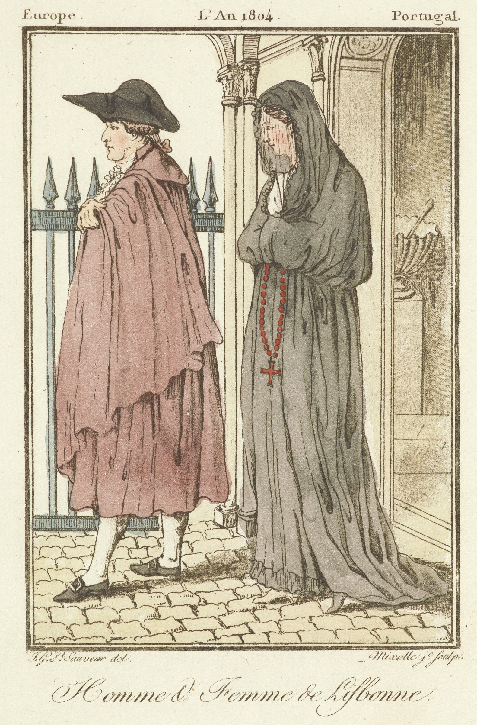 A man and woman are depicted facing left. The man is dressed with a cape and black hat. The woman in dressed in a long dress with loose sleeves. Her face is covered with a veil.