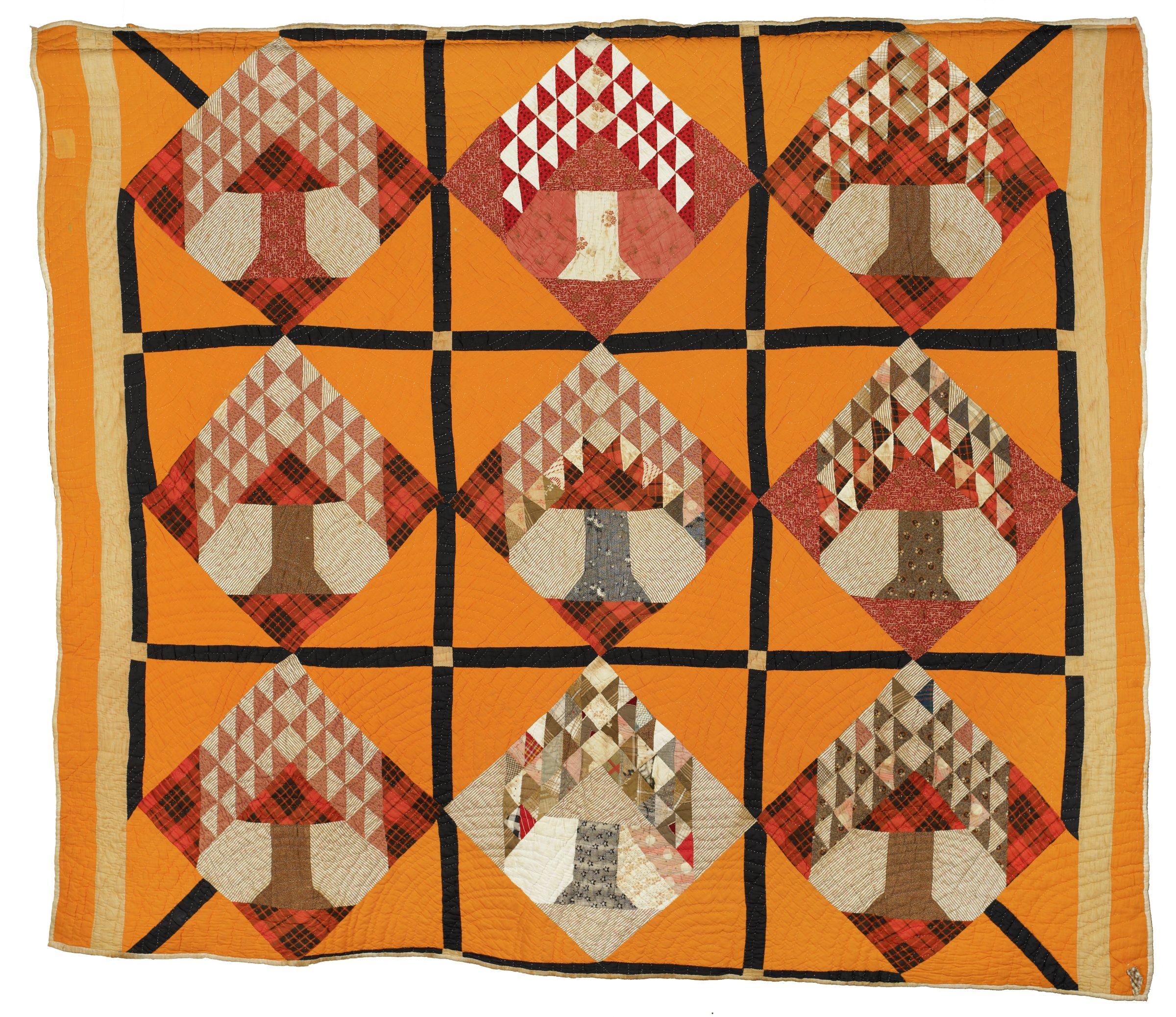 Tree of Life pattern has nine squares, each with tree inside diamond shape, against orange background
