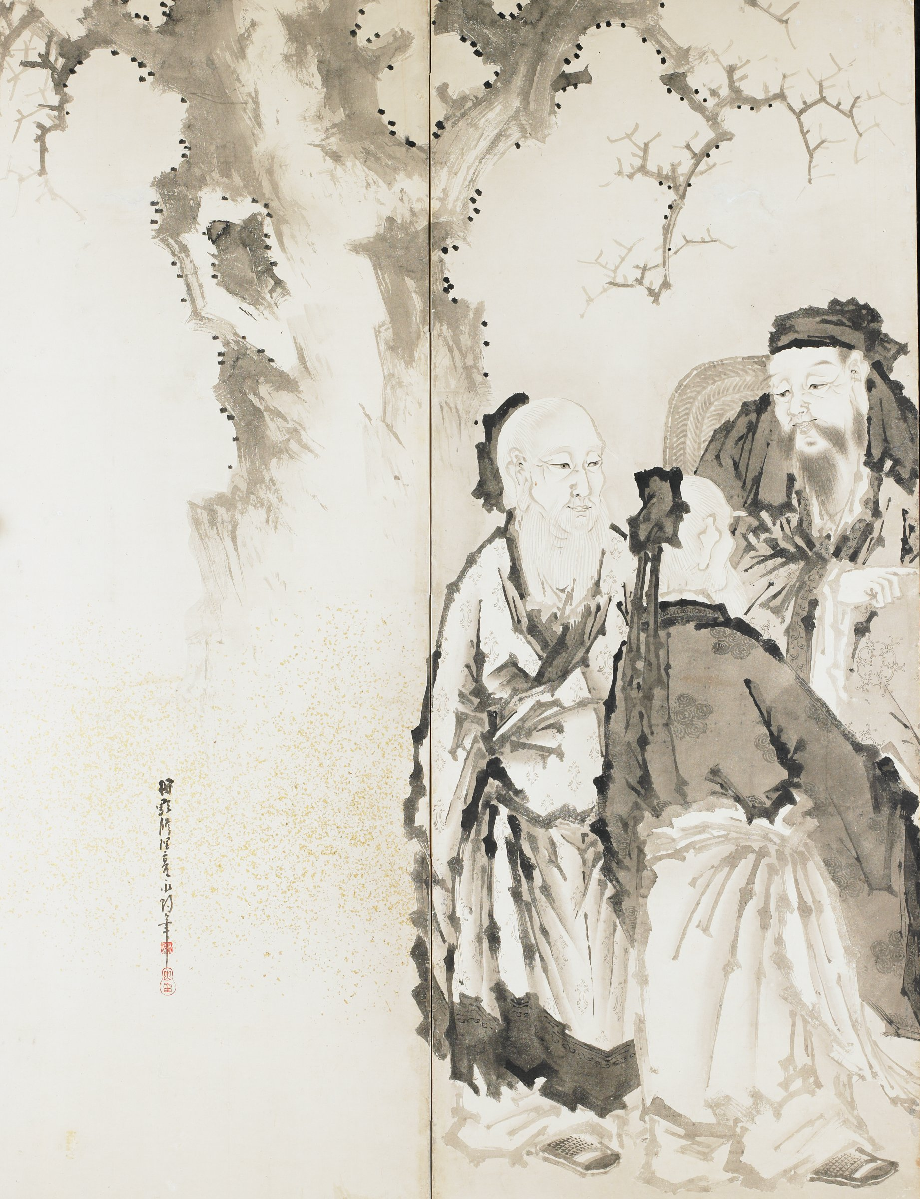 Pair of six-panel folding screens. Left panel featuring pine tree, seven men and one boy seated and standing and painting viewing. Right panel featuring bamboo with seven seated men, reading scrolls, playing qin and pipa