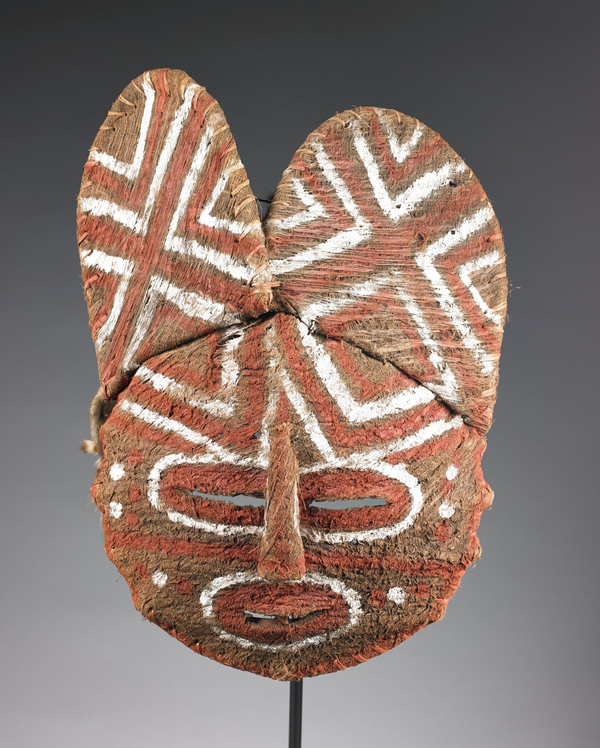 Mask, Luvale people, Angola, or Democratic Republic of the Congo, African, plant fiber, pigment