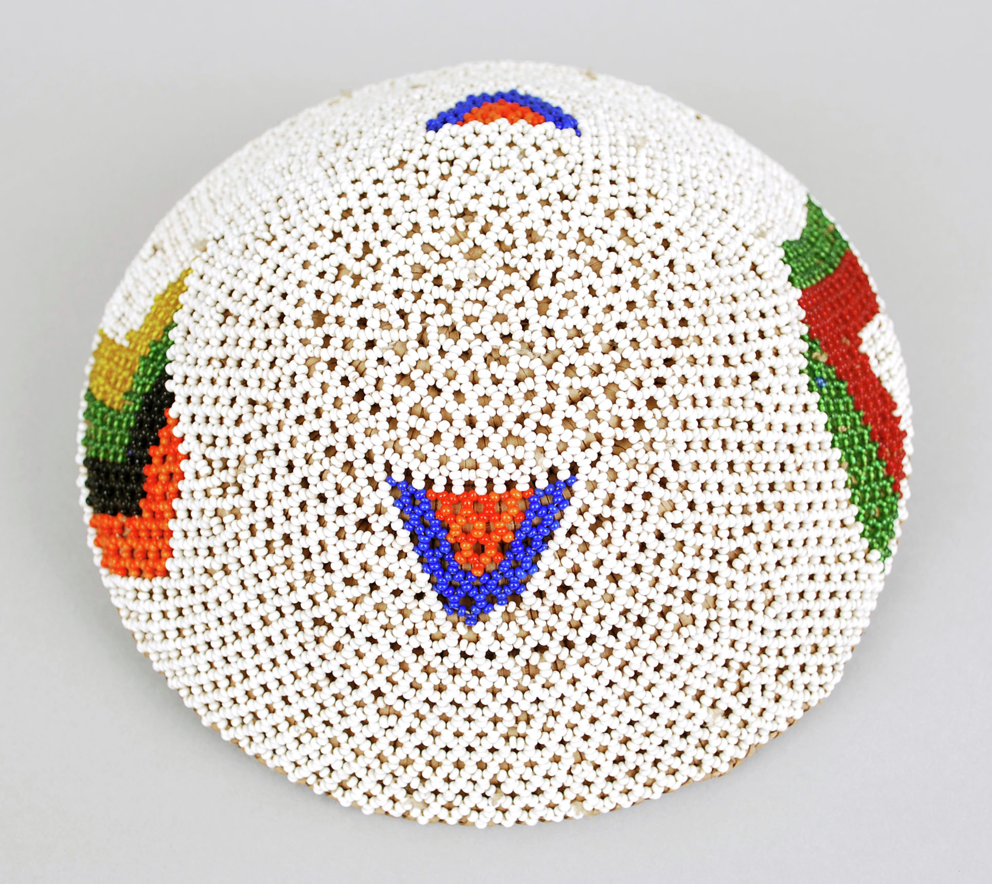 Beer Pot Lid (Imbenge), Zulu people, Area of Eshowe, South Africa, African, grass fibers, glass beads and thread