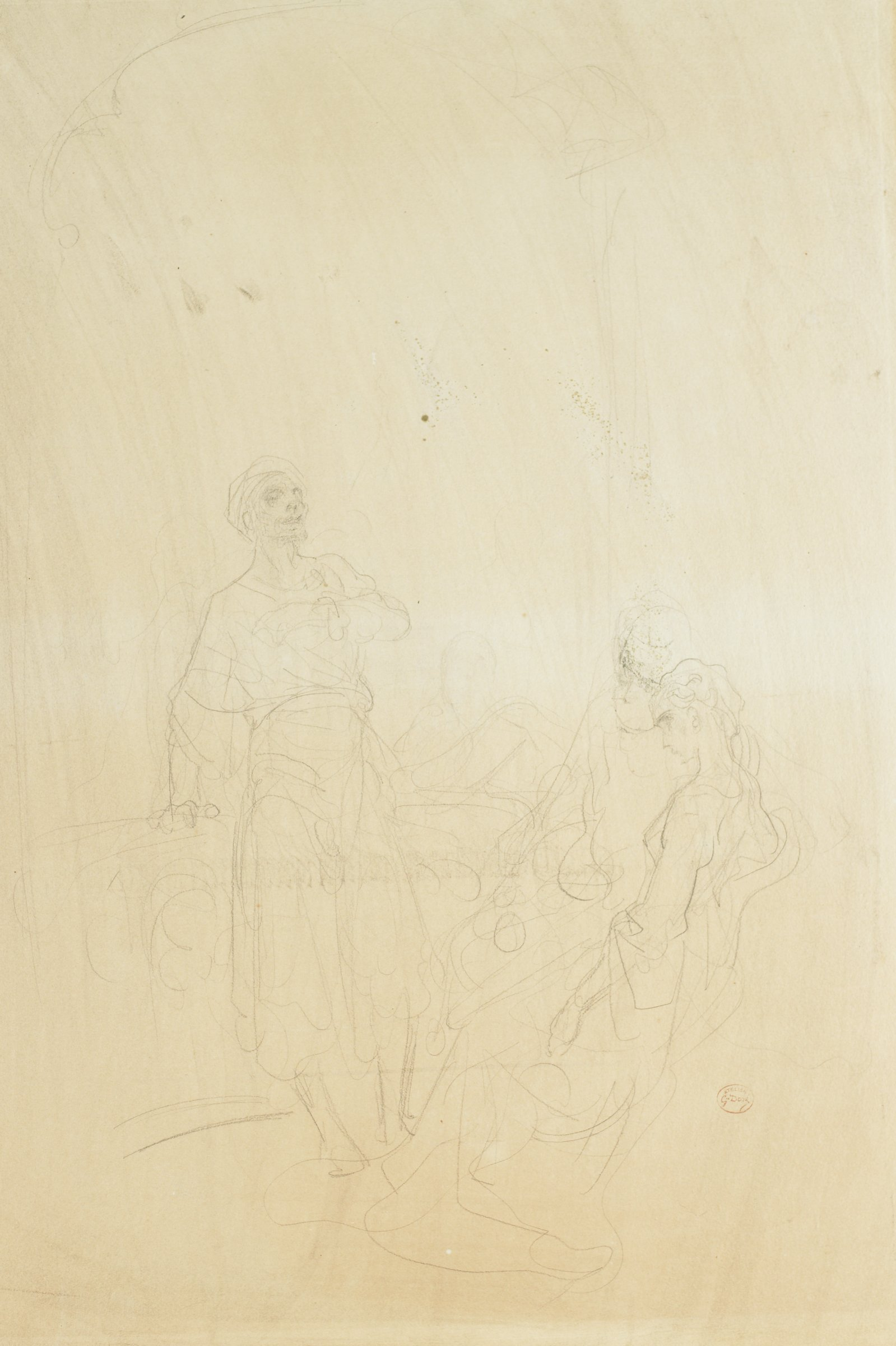 A figure stands facing a seated couple. His left arm is folded across his chest.