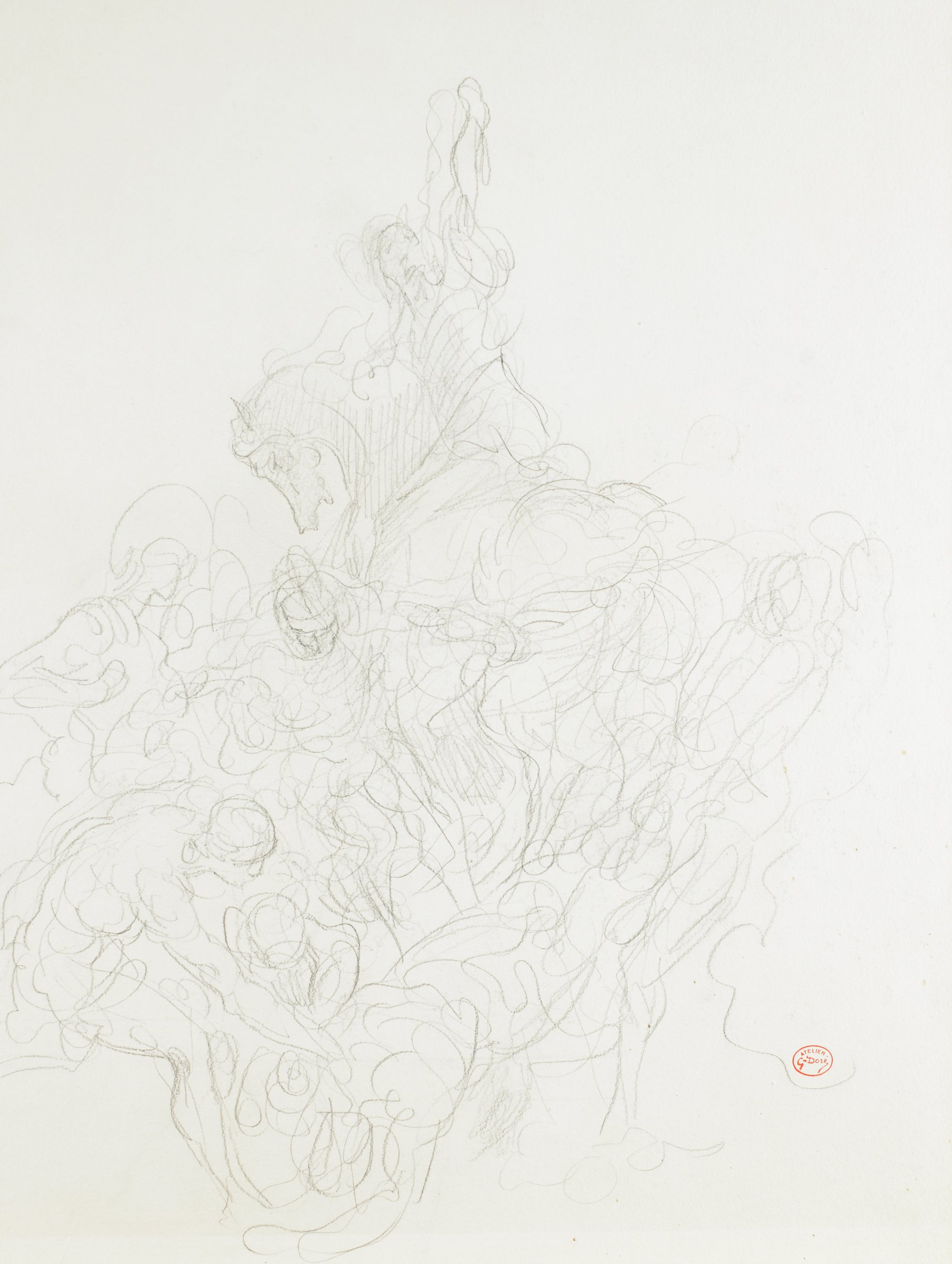 At the top of the composition is a figure on horseback. The figure turns sideways and raises his or her arm upwards. Beneath this is a series of swirling lines. A defined figure is seen in the lower left bendind forward.