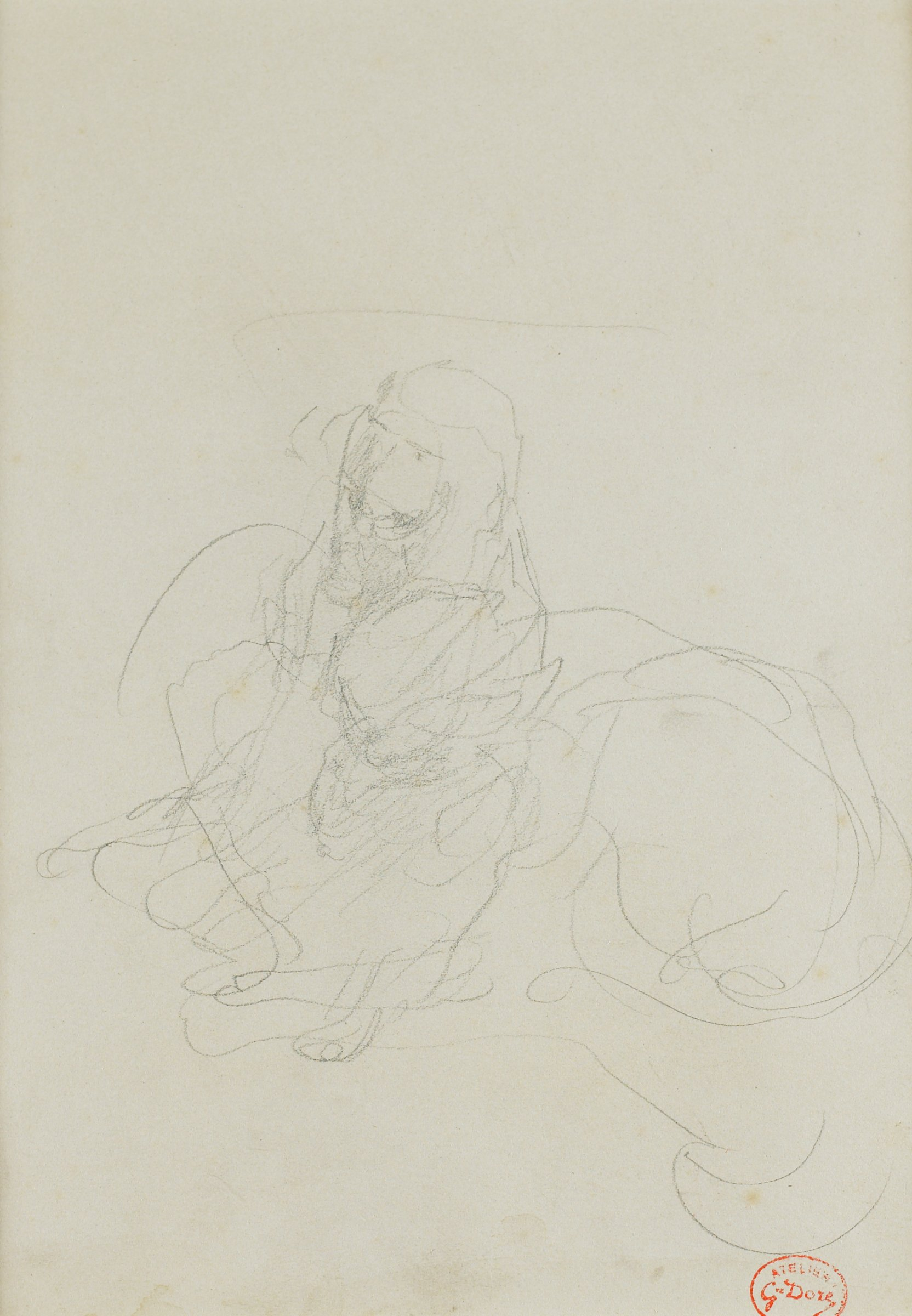 A sketch of a monkey in the center with a cat leaning in from the right.