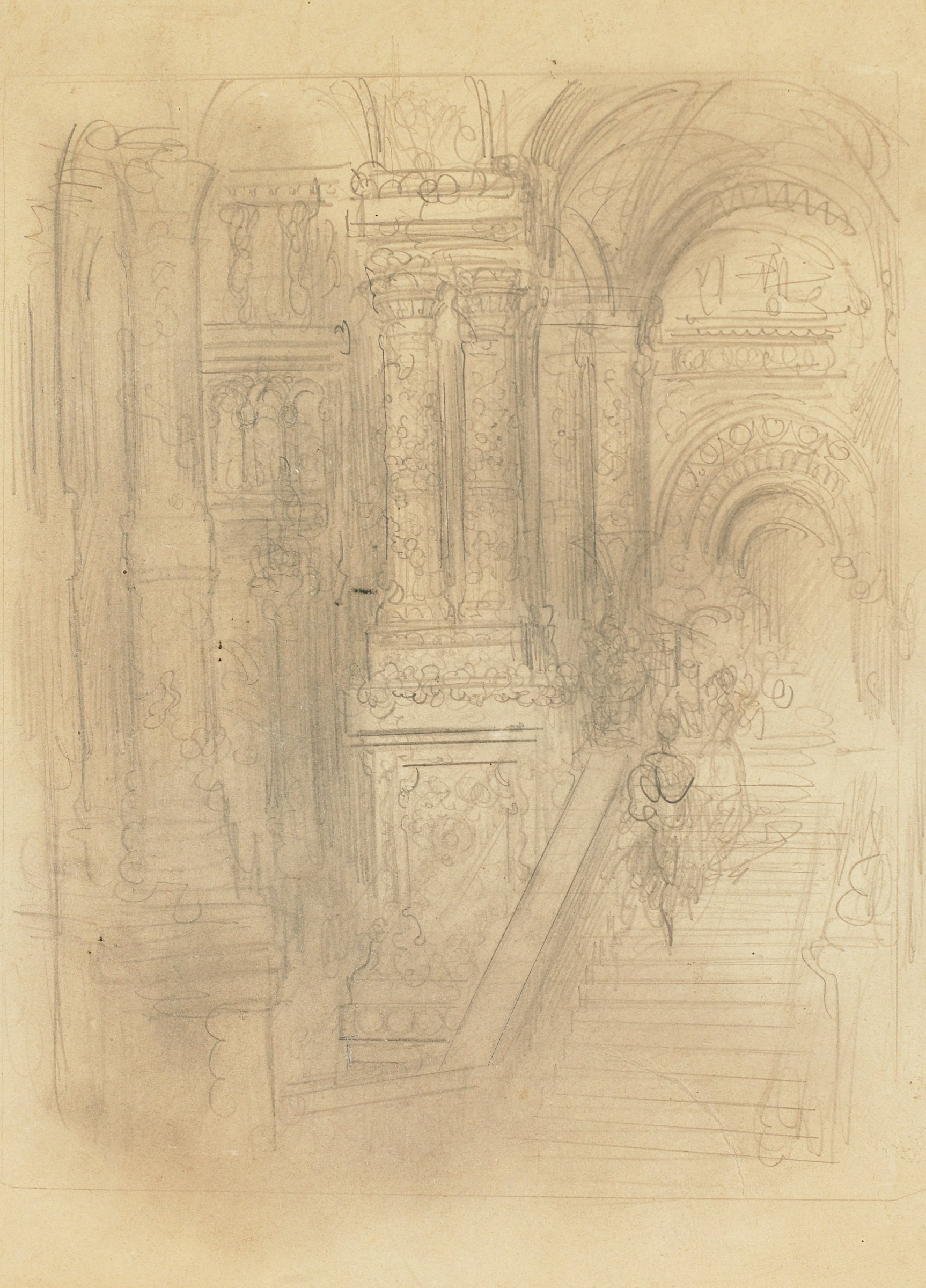 On the recto, a central figure stands underneath an arch and between two columns. Figures appear to surround him. On the verso, two figures descend a staircase in an ornately decorated room.