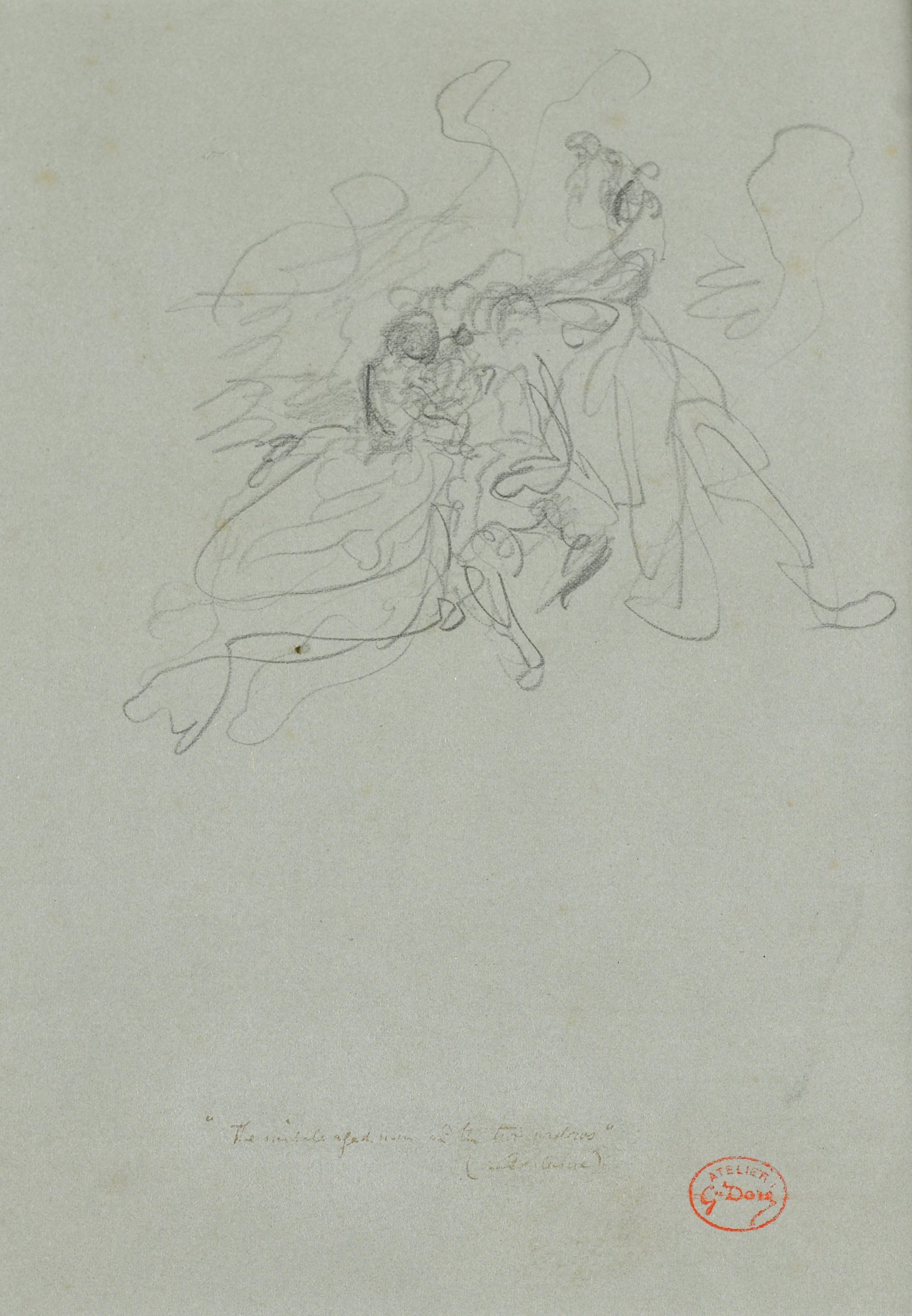 A series of swirling lines with a concentration of lines in the center make up this composition. The figures are unidentifiable.