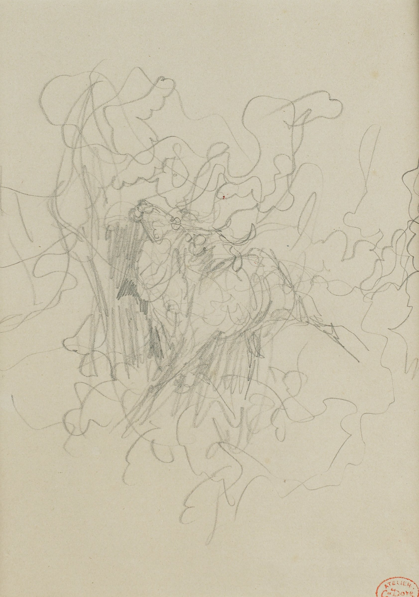 A sketch of a loose pattern of swirling lines with a concentration of vertical lines near the center of the composition.