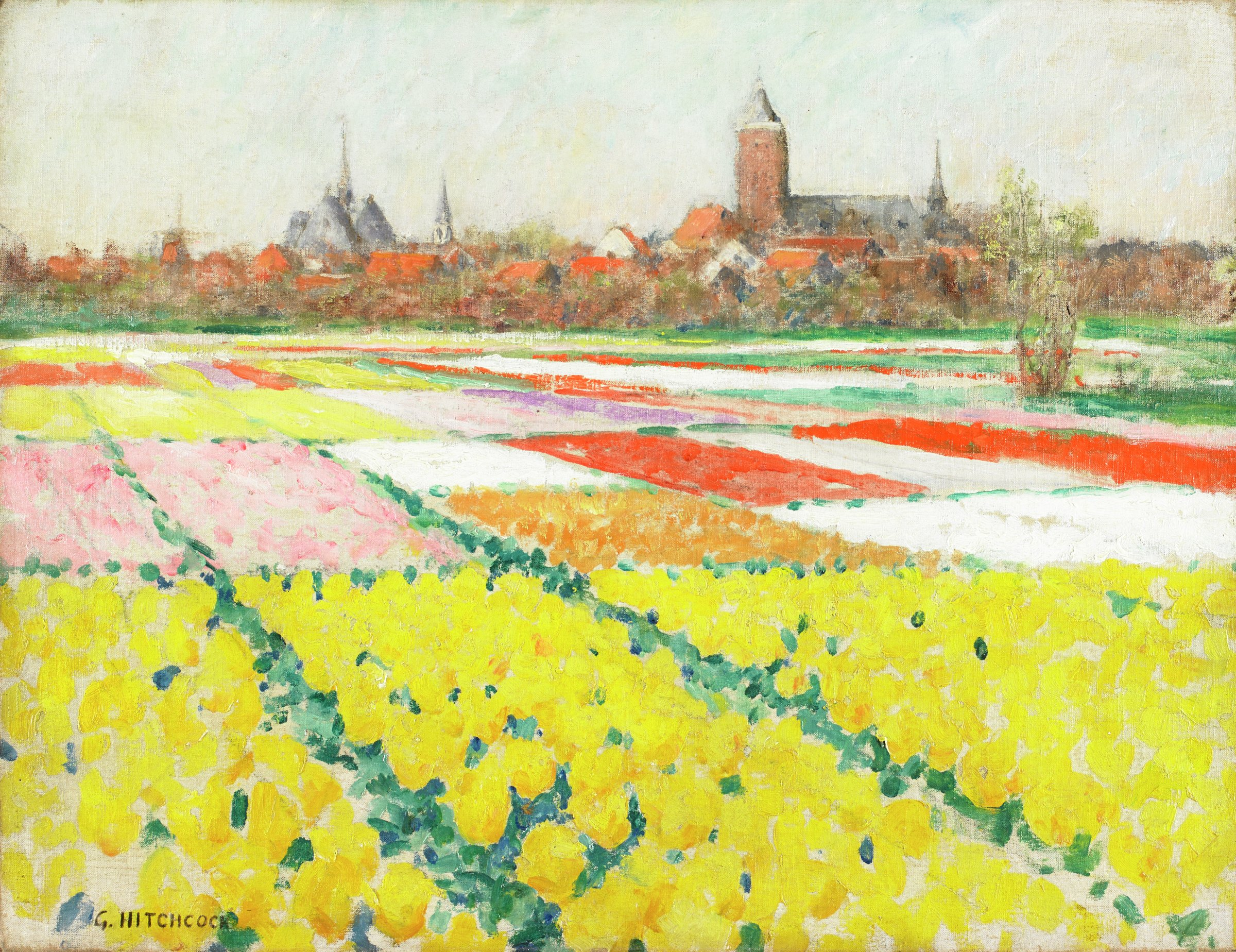Tulip Field Near Leiden, George Hitchcock, oil on canvas