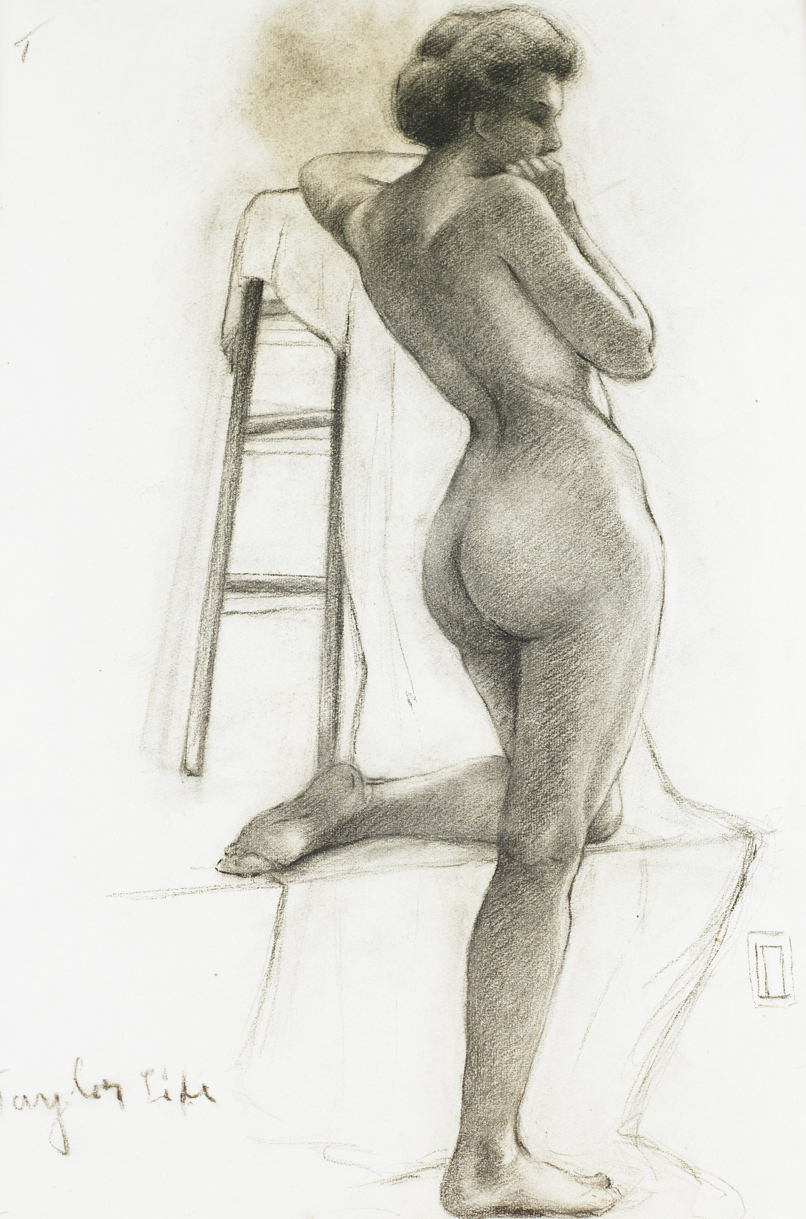 Standing Female Nude, Lucille Douglass, charcoal on machine-made laid paper